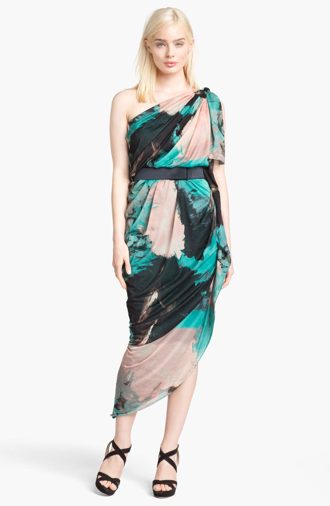 Main Image - Halston Heritage Print Draped One Shoulder Dress