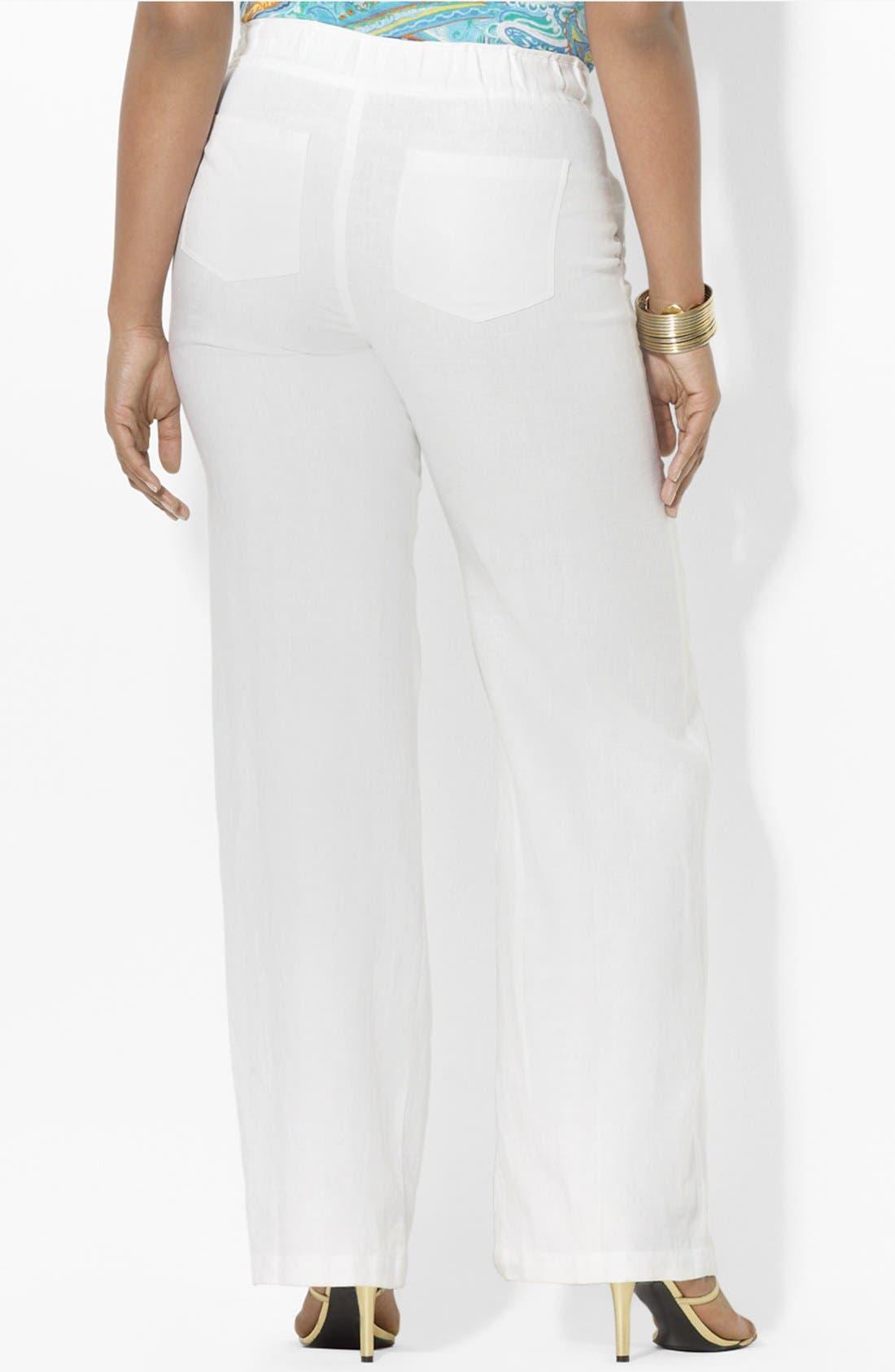 Alternate Image 2  - Lauren Ralph Lauren Drawstring Linen Pants (Plus)