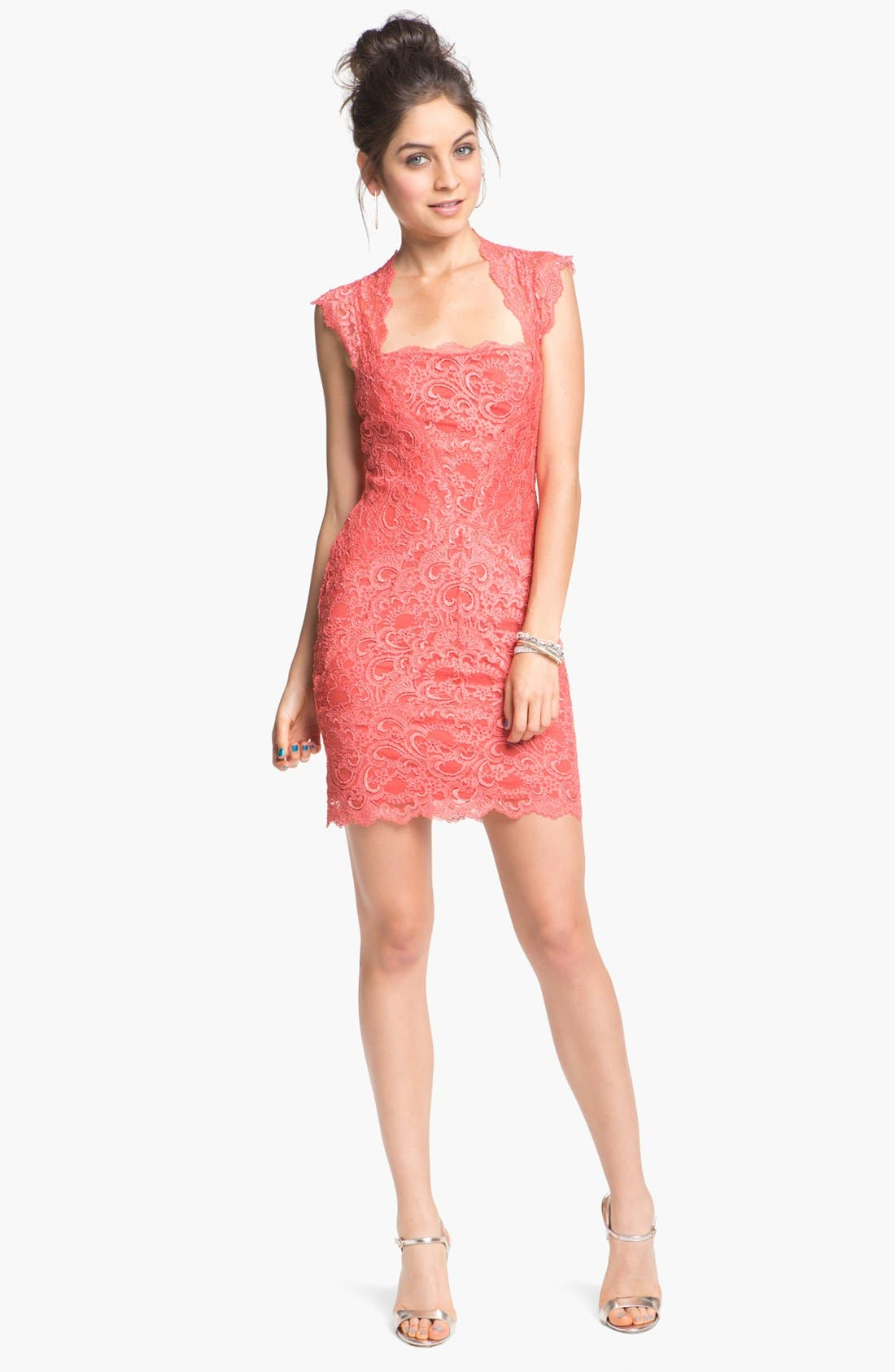 Alternate Image 1  - Nicole Miller Lace Fitted Cap Sleeve Lace Sheath Dress