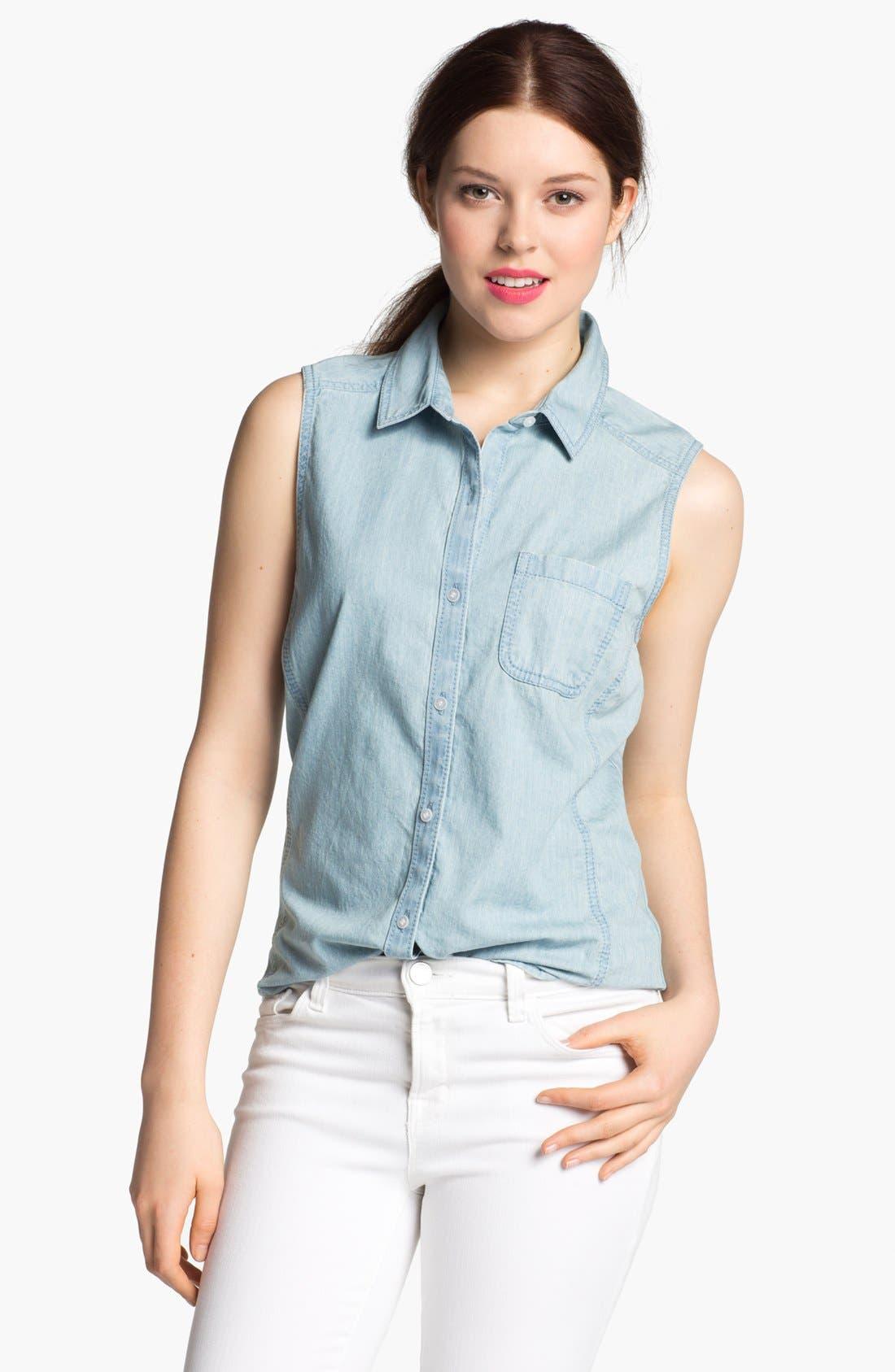 Alternate Image 1 Selected - Caslon® Sleeveless Chambray Shirt