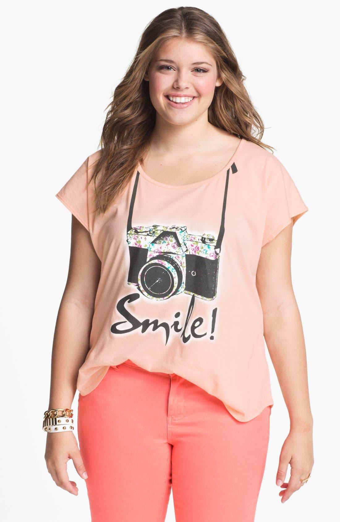 Alternate Image 1 Selected - Pretty Rebel 'Smile' Graphic Cotton Tee (Juniors Plus)
