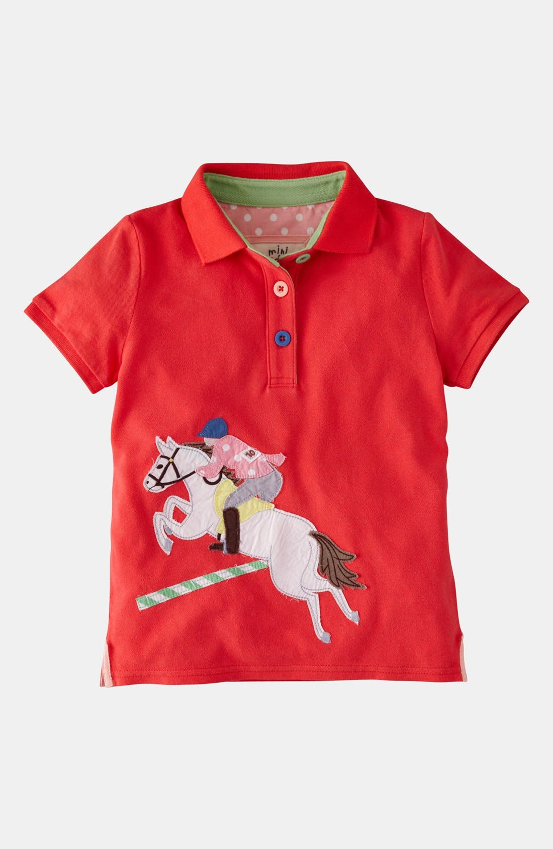 Alternate Image 1 Selected - Mini Boden Appliqué Polo (Toddler)