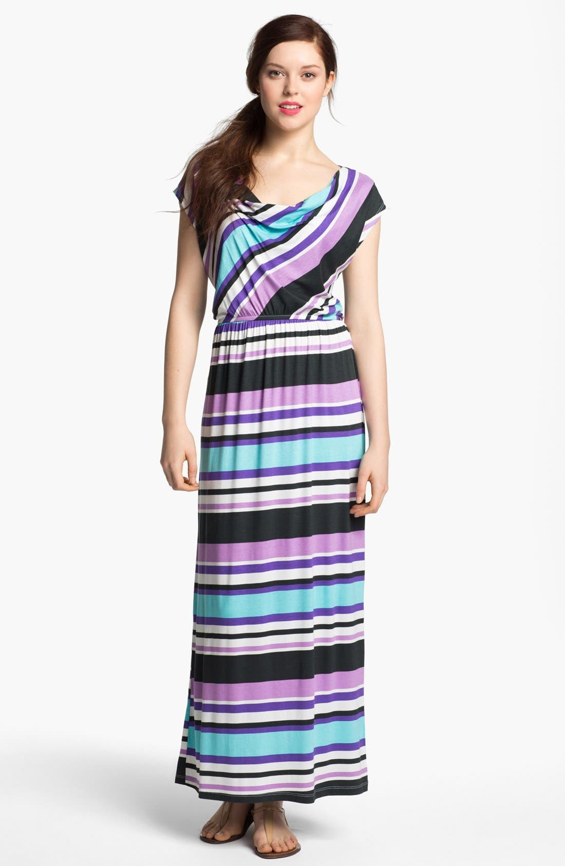 Main Image - Bobeau Drape Neck Maxi Dress