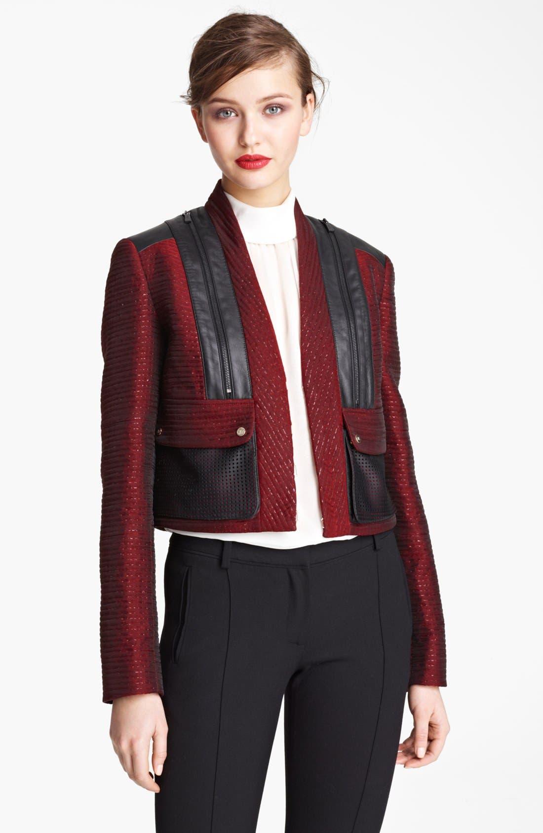 Main Image - Jason Wu Organza Tweed & Leather Crop Jacket