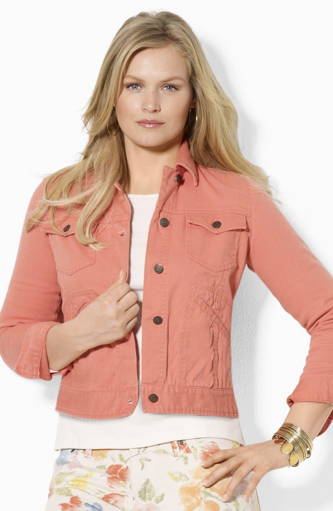 Alternate Image 1 Selected - Lauren Ralph Lauren Crop Denim Jacket (Plus)