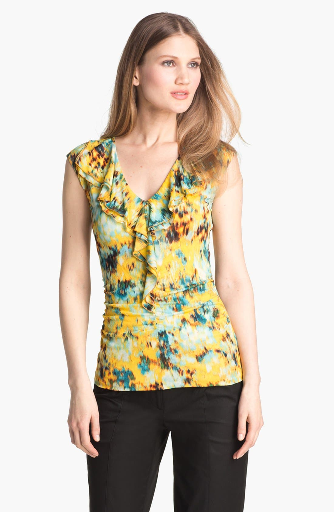 Alternate Image 1 Selected - Classiques Entier® Ruffled Print Mesh Top