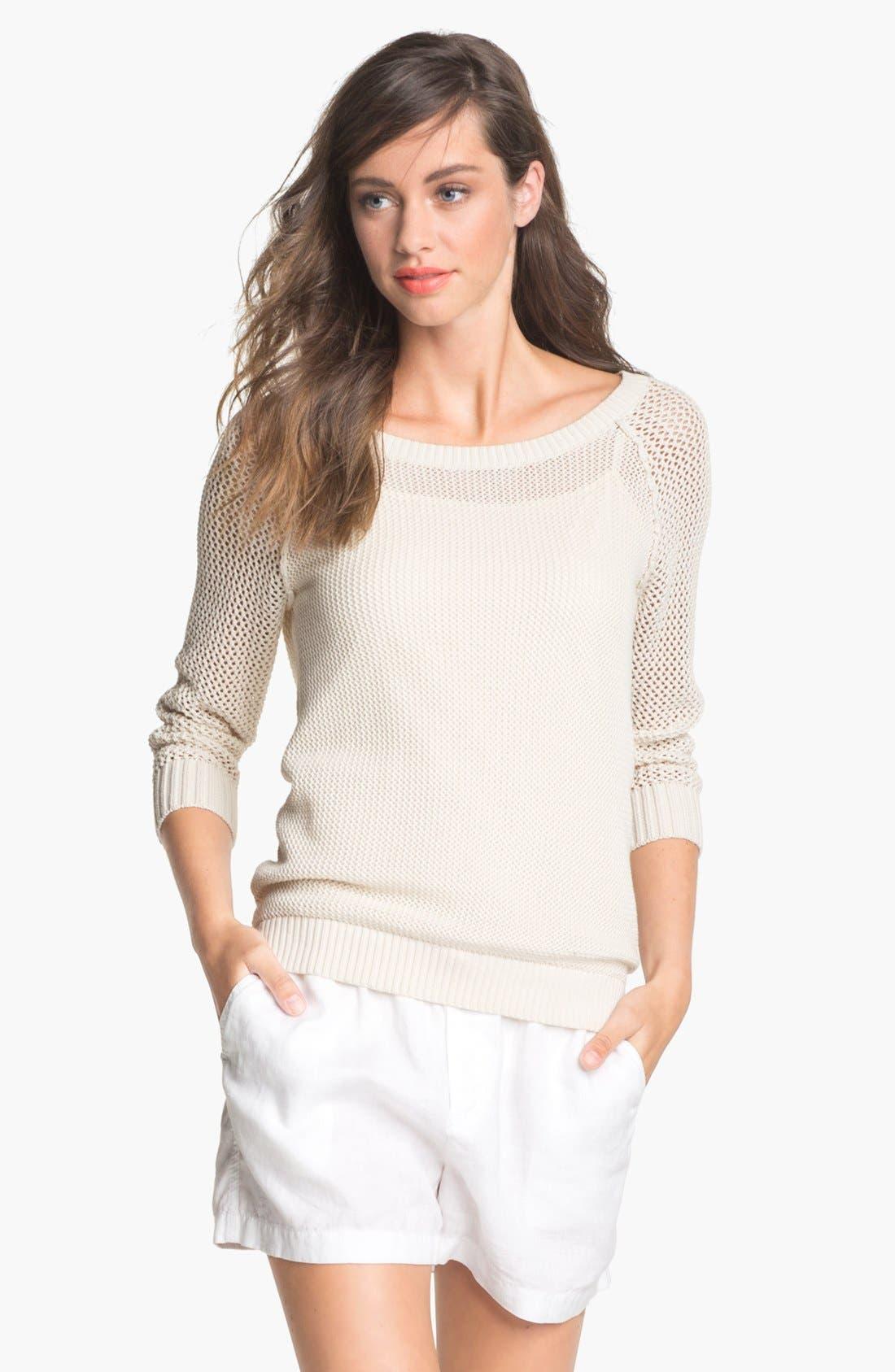 Alternate Image 1 Selected - Caslon® Open Knit Sweater (Regular & Petite)