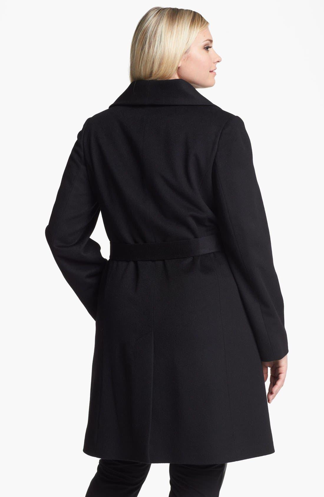 Alternate Image 2  - Fleurette Wing Collar Cashmere Wrap Coat (Plus Size)