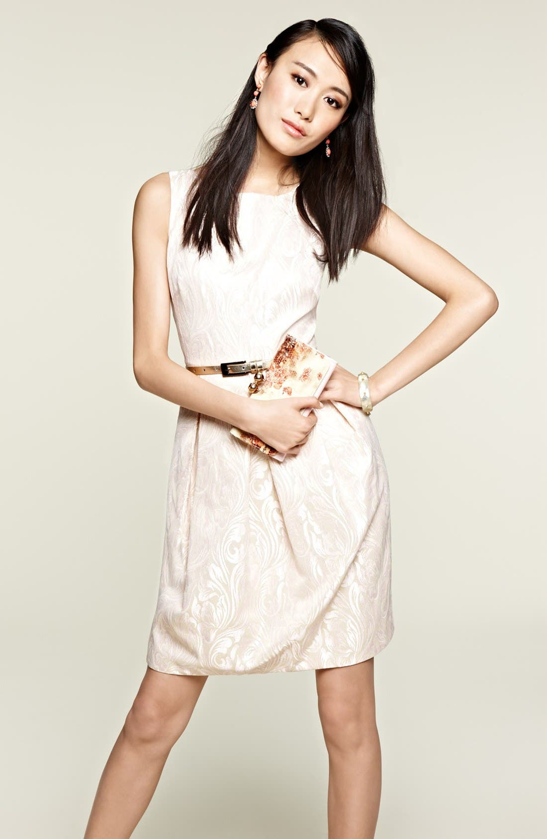 Alternate Image 4  - Eliza J Sleeveless Brocade Fit & Flare Dress