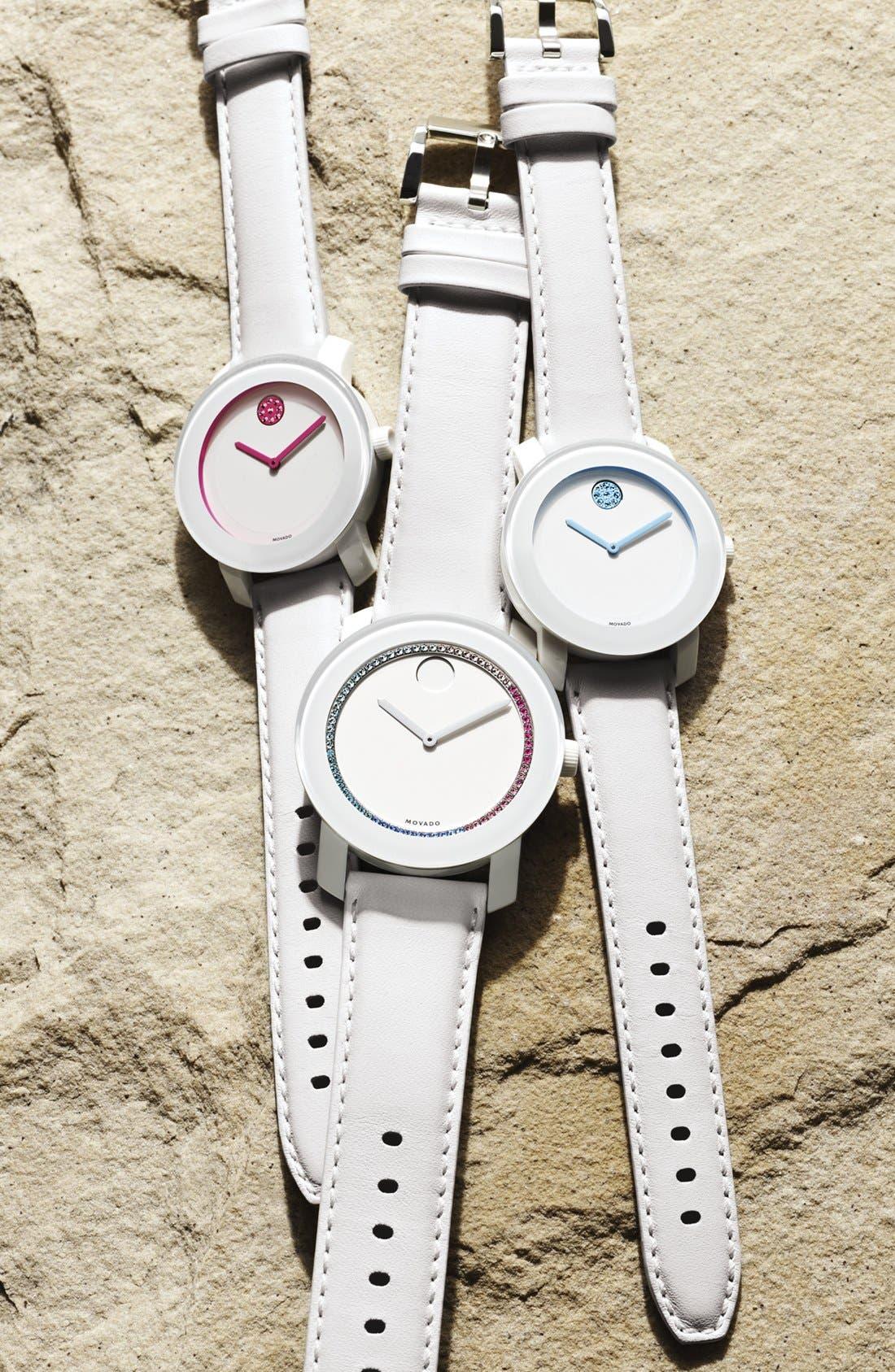 Alternate Image 2  - Movado 'Bold' Crystal Dot Leather Strap Watch, 36mm