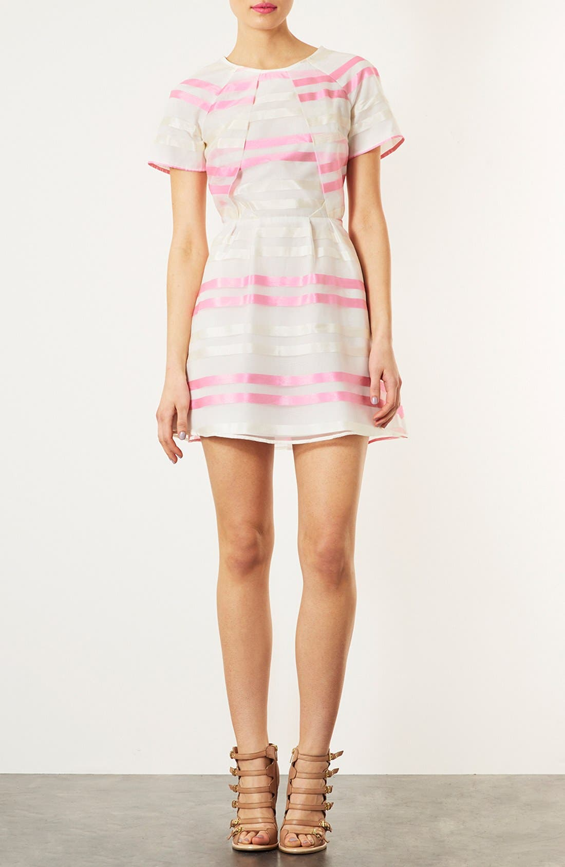 Alternate Image 1 Selected - Topshop 'Candy Stripe Origami' Skater Dress