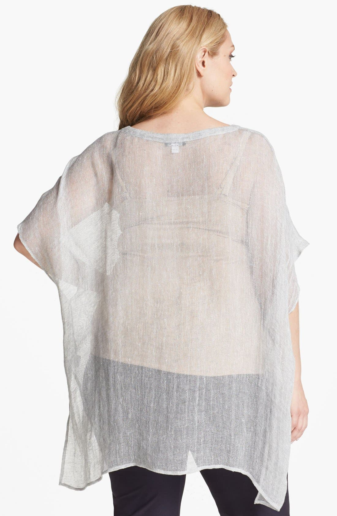 Alternate Image 2  - Eileen Fisher Ballet Neck Sheer Tunic (Plus Size)