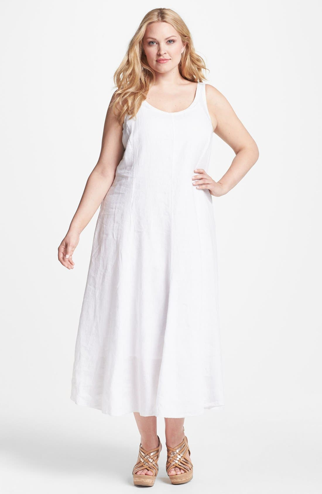 Main Image - Eileen Fisher Sleeveless A-Line Midi Dress (Plus Size)