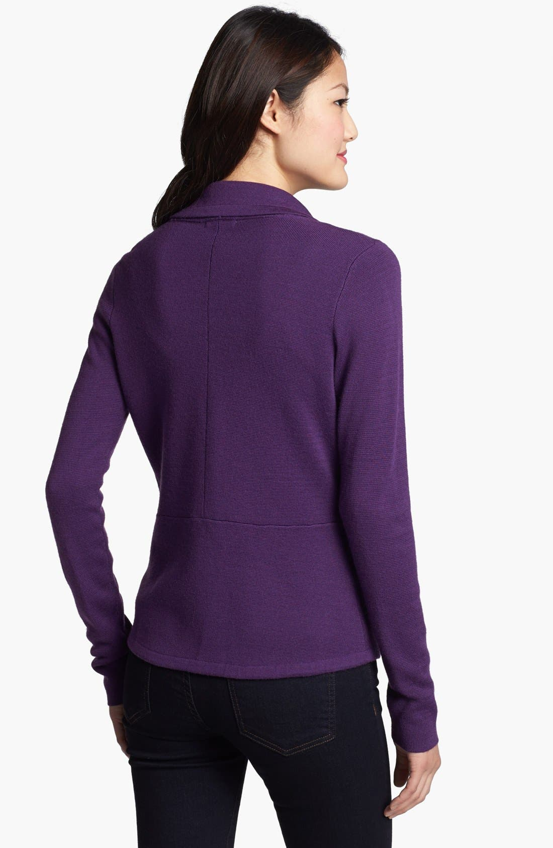 Alternate Image 1 Selected - Halogen® Sweater Jacket, Cardigan Leather Skirt & Caslon® Tee