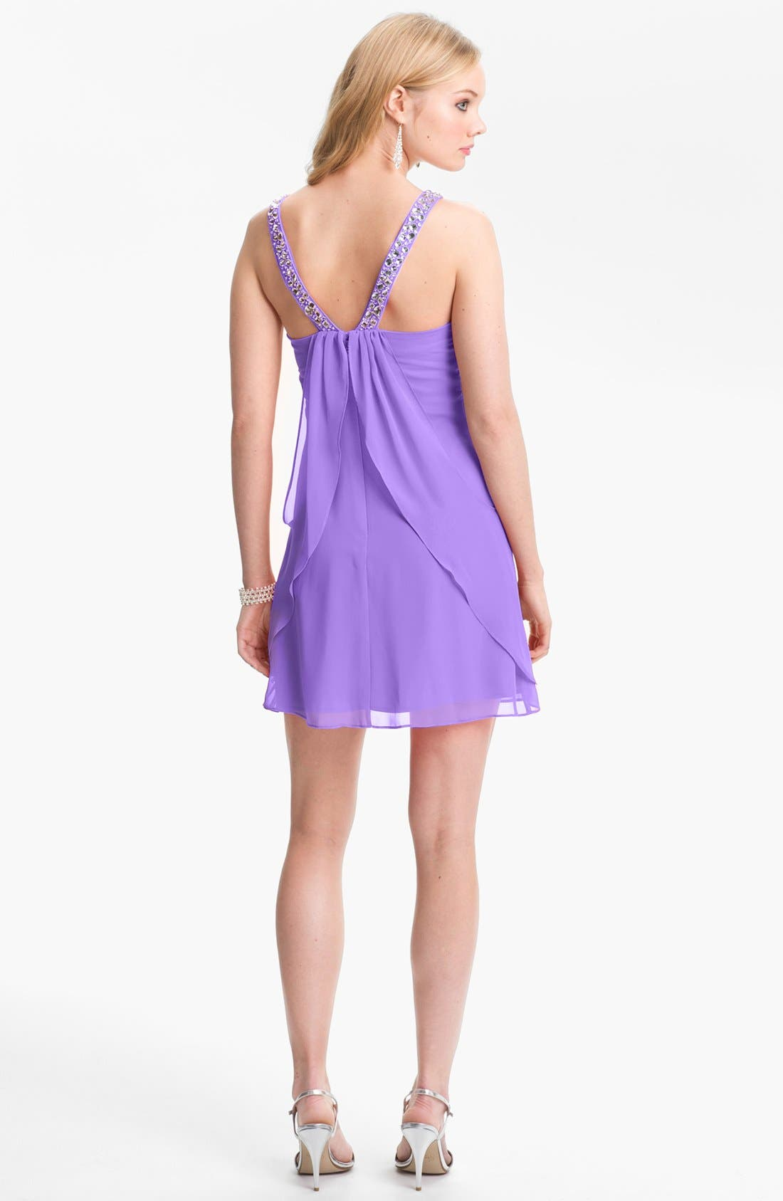 Alternate Image 2  - Hailey Logan Embellished Strap Flutter Dress (Juniors) (Online Only)