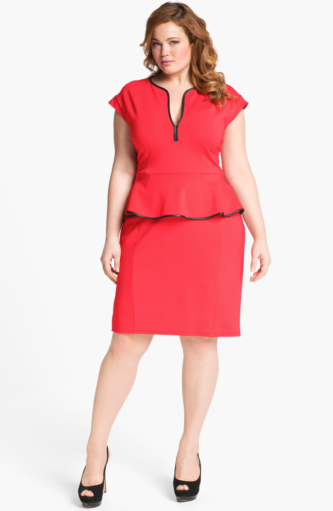 Main Image - ABS by Allen Schwartz Leather Trim Peplum Dress (Plus Size)