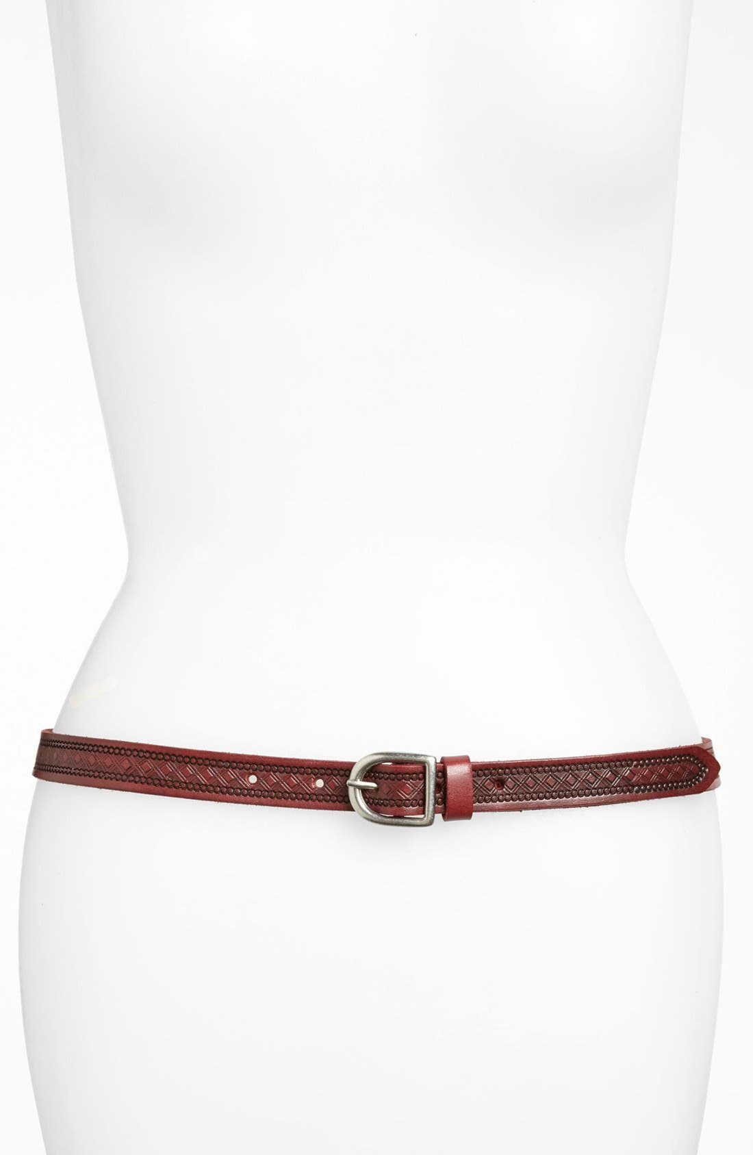 Alternate Image 1 Selected - Tarnish Embossed Leather Belt