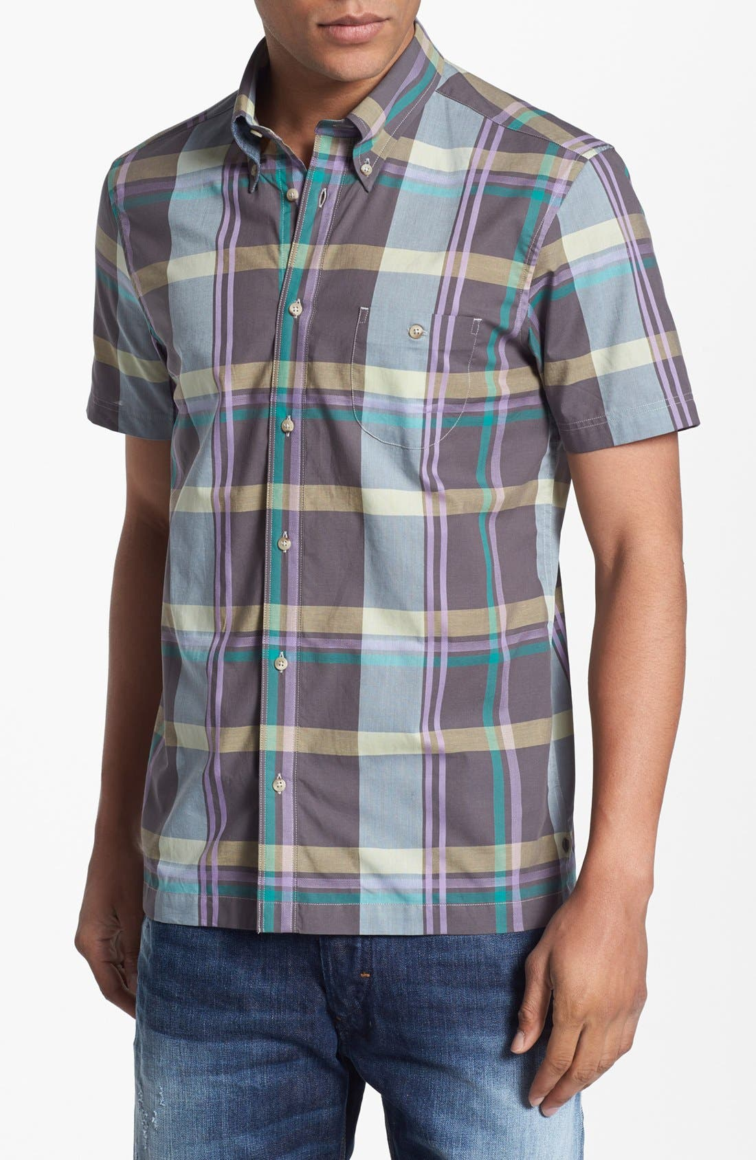 Main Image - Ben Sherman Plaid Short Sleeve Woven Shirt