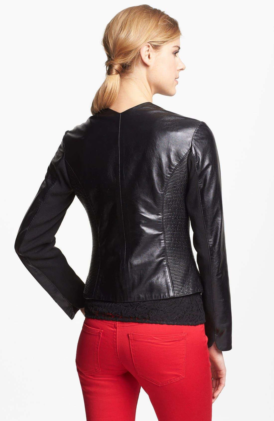 Alternate Image 2  - Via Spiga Ribbed Side Leather Jacket (Regular & Petite) (Online Only)