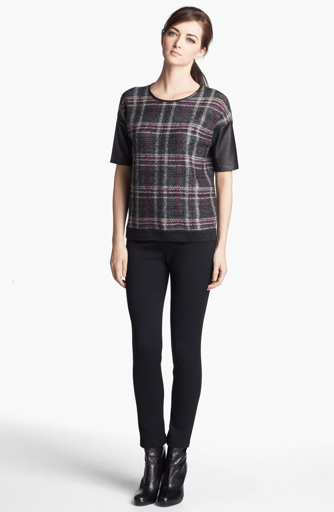 Alternate Image 2  - St. John Collection Leather Accent Plaid Sweater