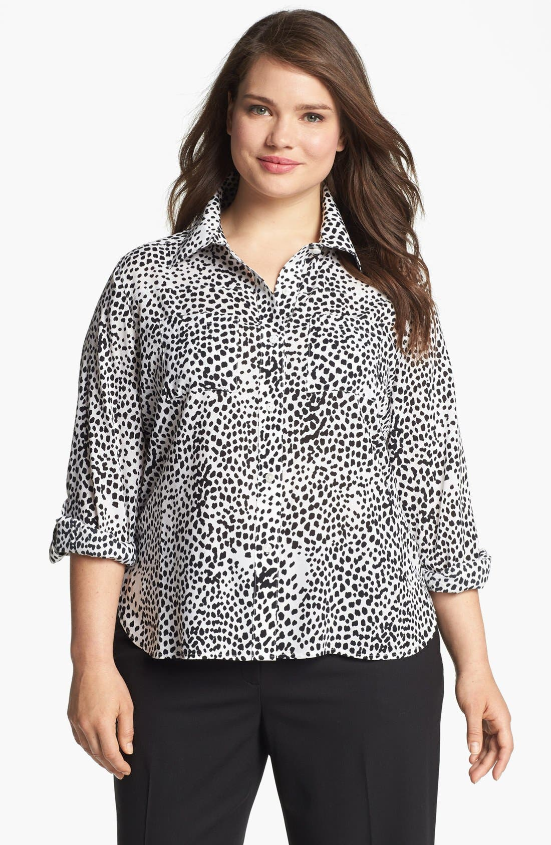 Alternate Image 1 Selected - Foxcroft 'Wild Dot' Print Shaped Shirt (Plus Size)