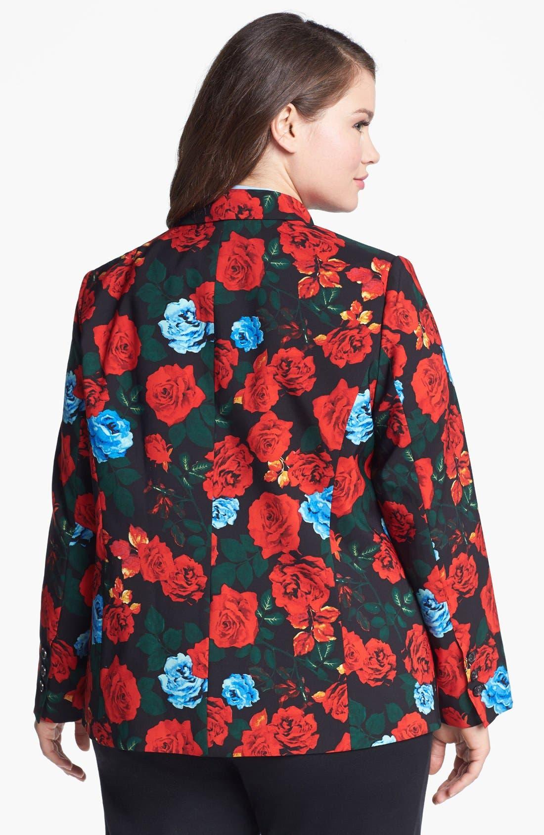 Alternate Image 2  - Vince Camuto Rose Print Blazer (Plus Size)