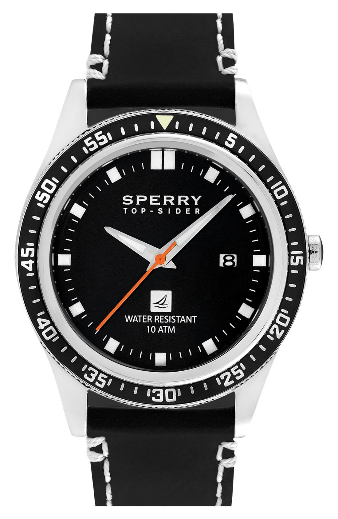 Main Image - Sperry 'Navigator' Leather Strap Watch, 44mm