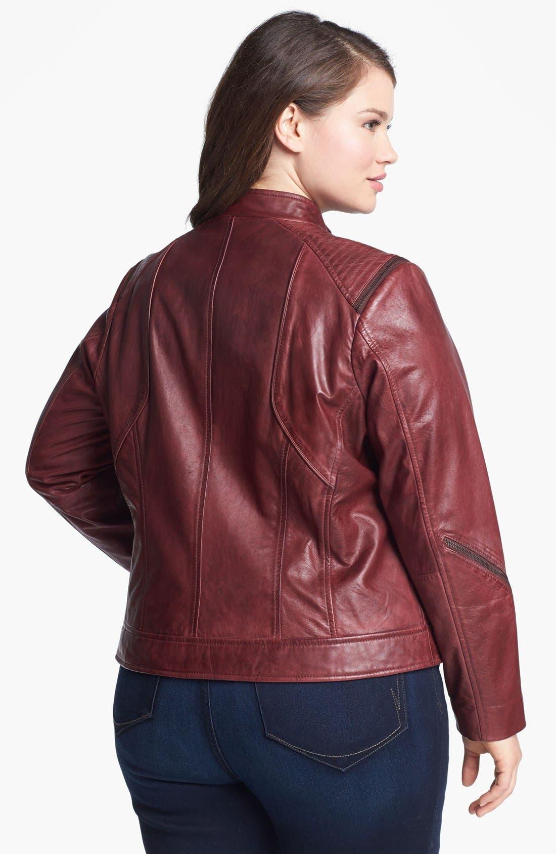 Alternate Image 2  - Bernardo Zip Trim Leather Scuba Jacket (Plus Size)