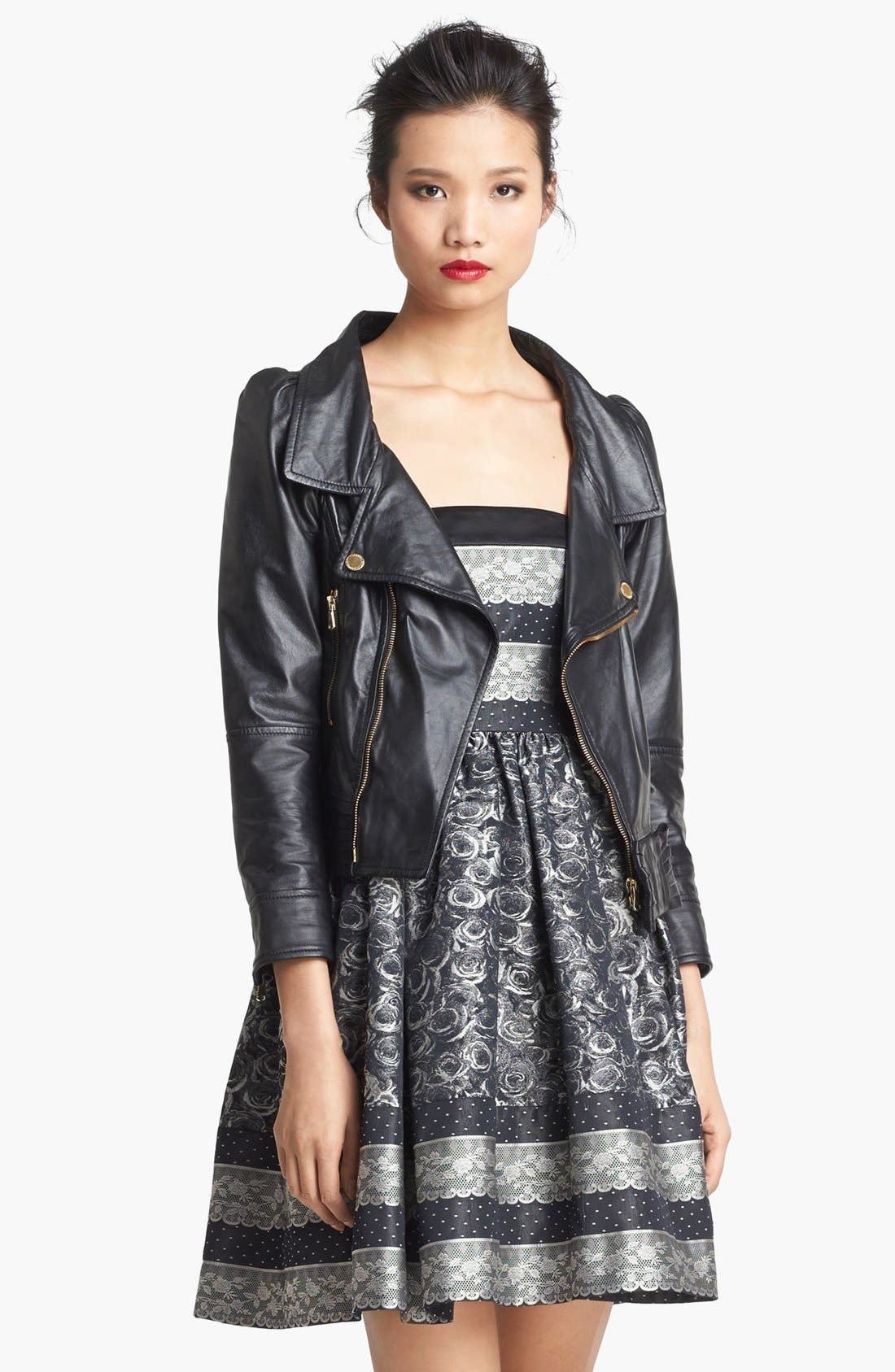 Alternate Image 3  - RED Valentino Bow Detail Leather Jacket