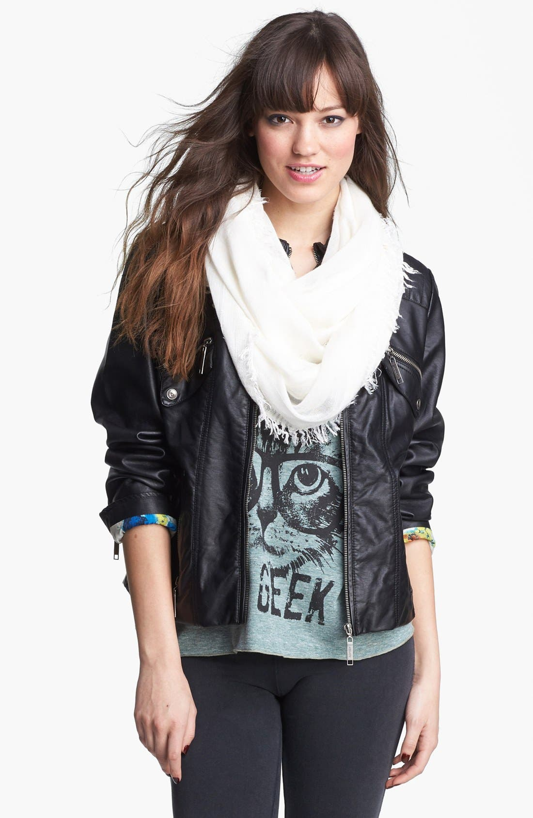 Alternate Image 1 Selected - Jou Jou Zip Front Faux Leather Jacket (Juniors) (Online Only)