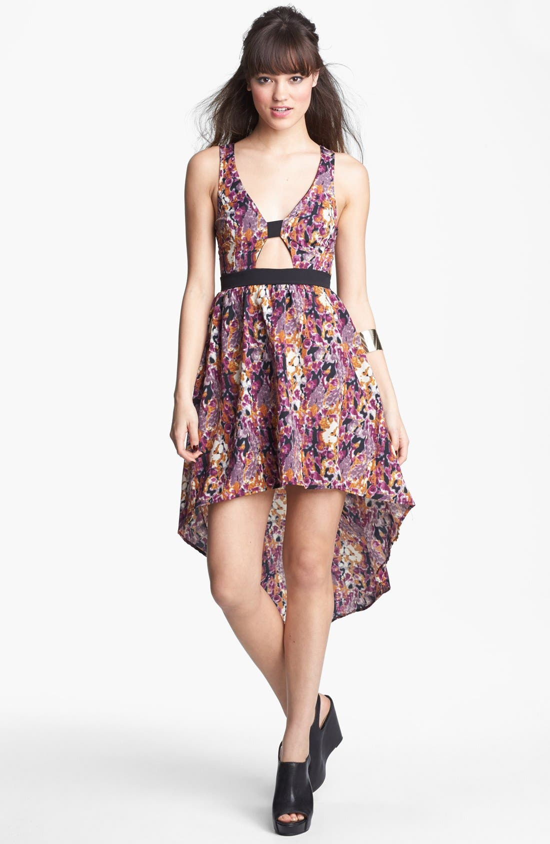 Alternate Image 1 Selected - Lush Cutout High/Low Dress (Juniors) (Online Only)