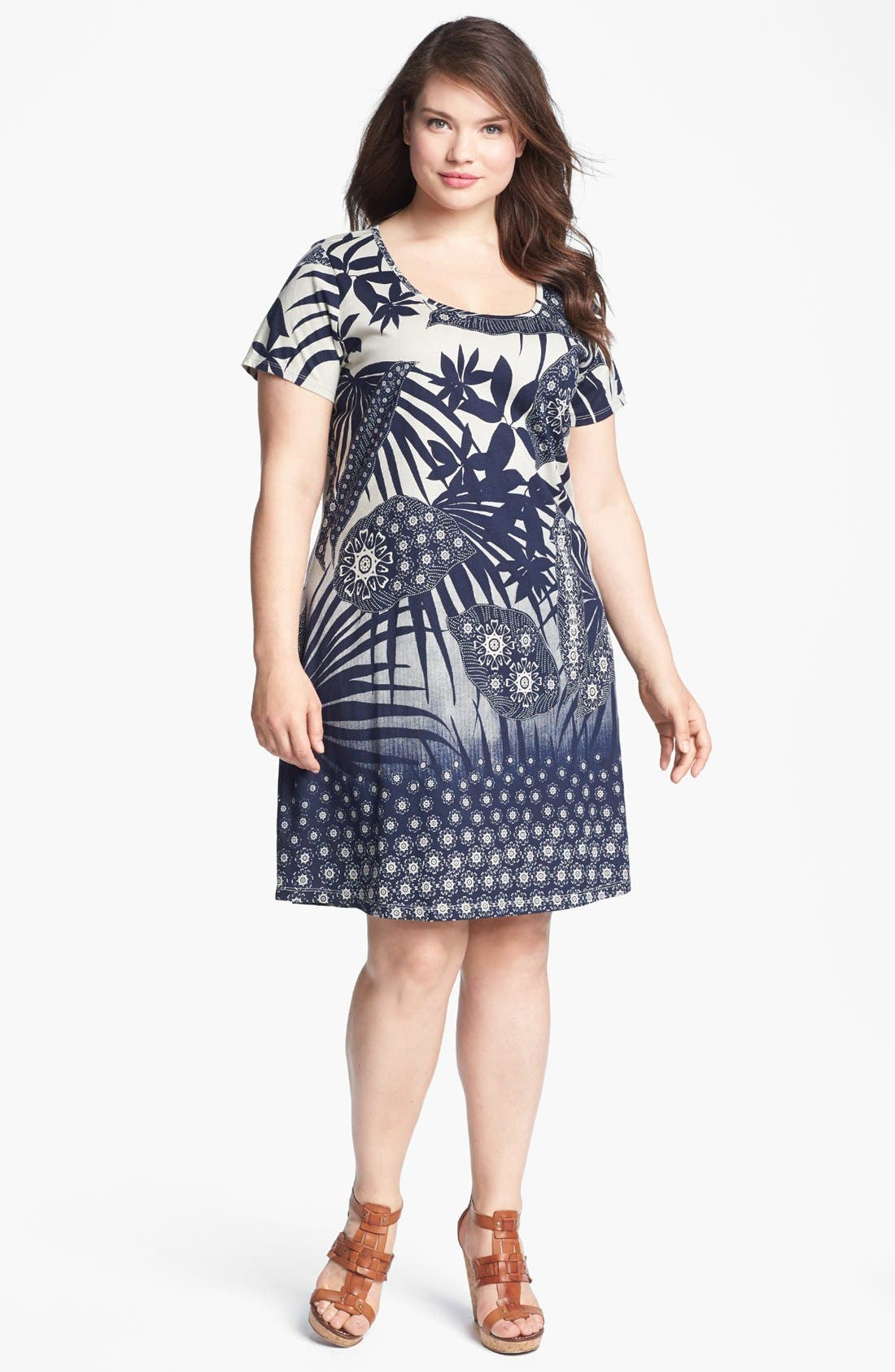 Alternate Image 1 Selected - Lucky Brand 'Chantal' Print Cotton Dress (Plus Size)