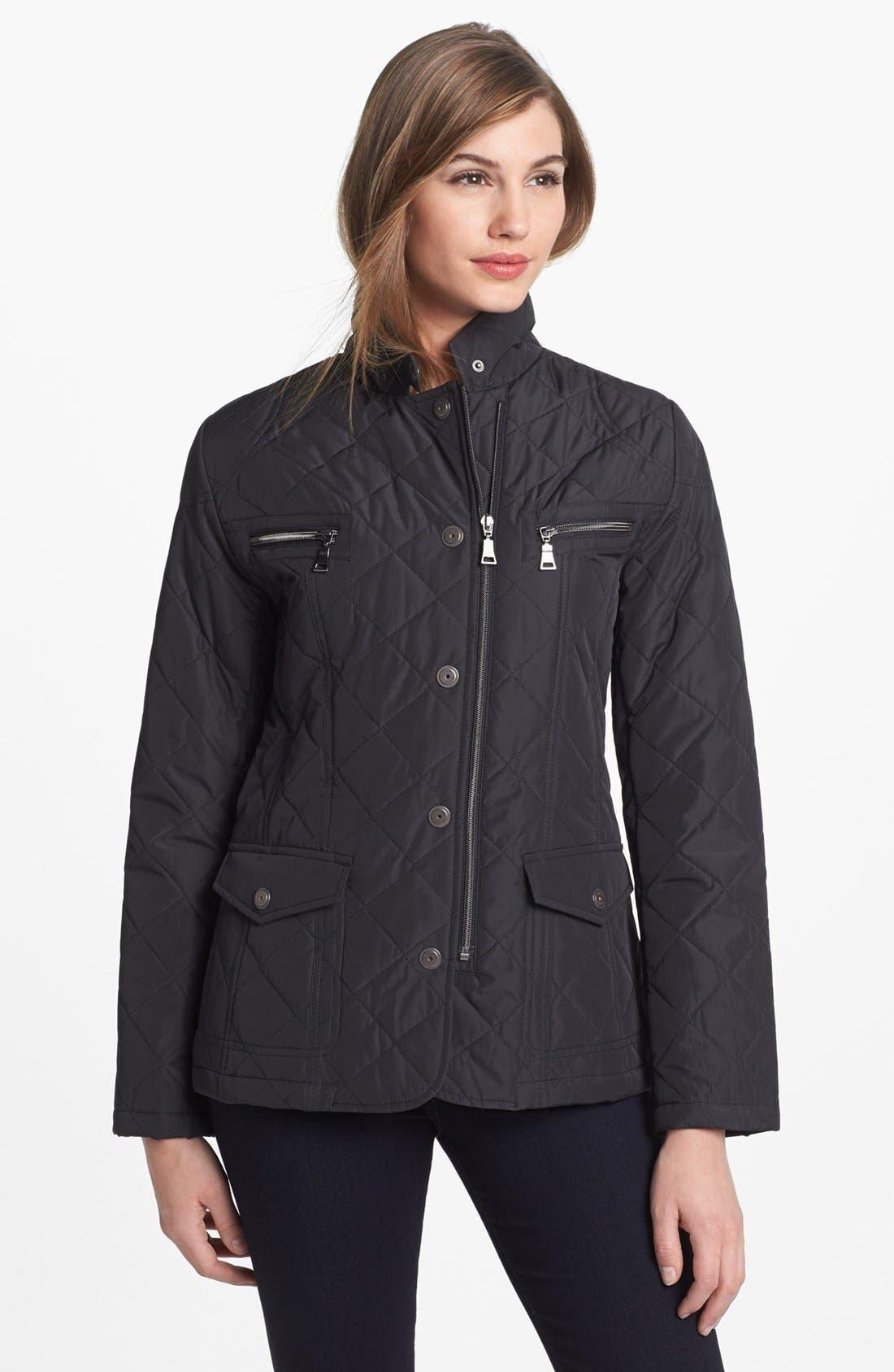 Main Image - Kristen Blake Zip & Snap Front Quilted Jacket (Regular & Petite)