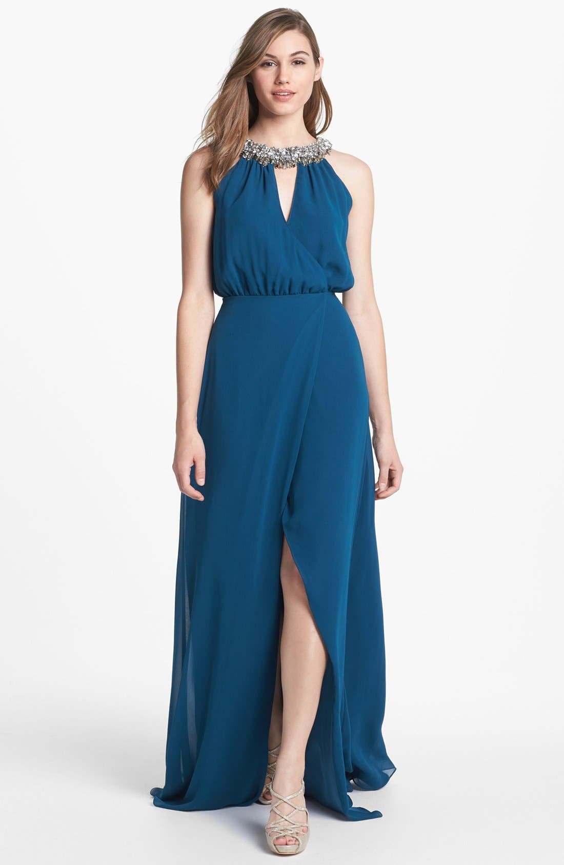 Main Image - ERIN erin fetherston Embellished Faux Wrap Chiffon Gown