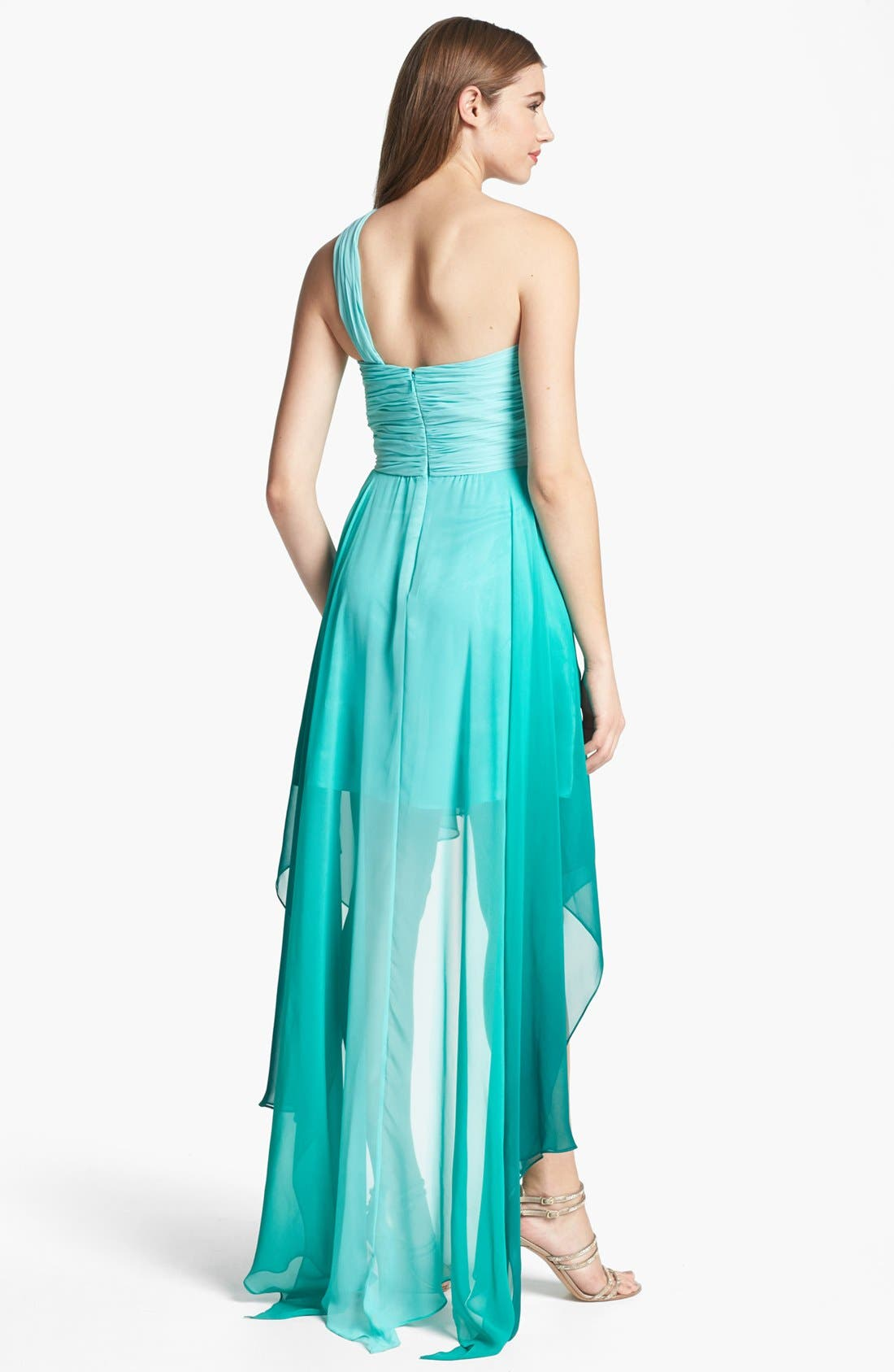 Alternate Image 2  - Dalia MacPhee Ombré One Shoulder High/Low Dress