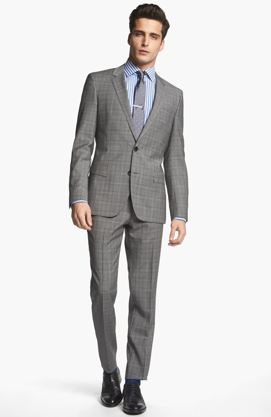 Alternate Image 1 Selected - BOSS HUGO BOSS 'Huge/Genius' Extra Trim Fit Plaid Suit