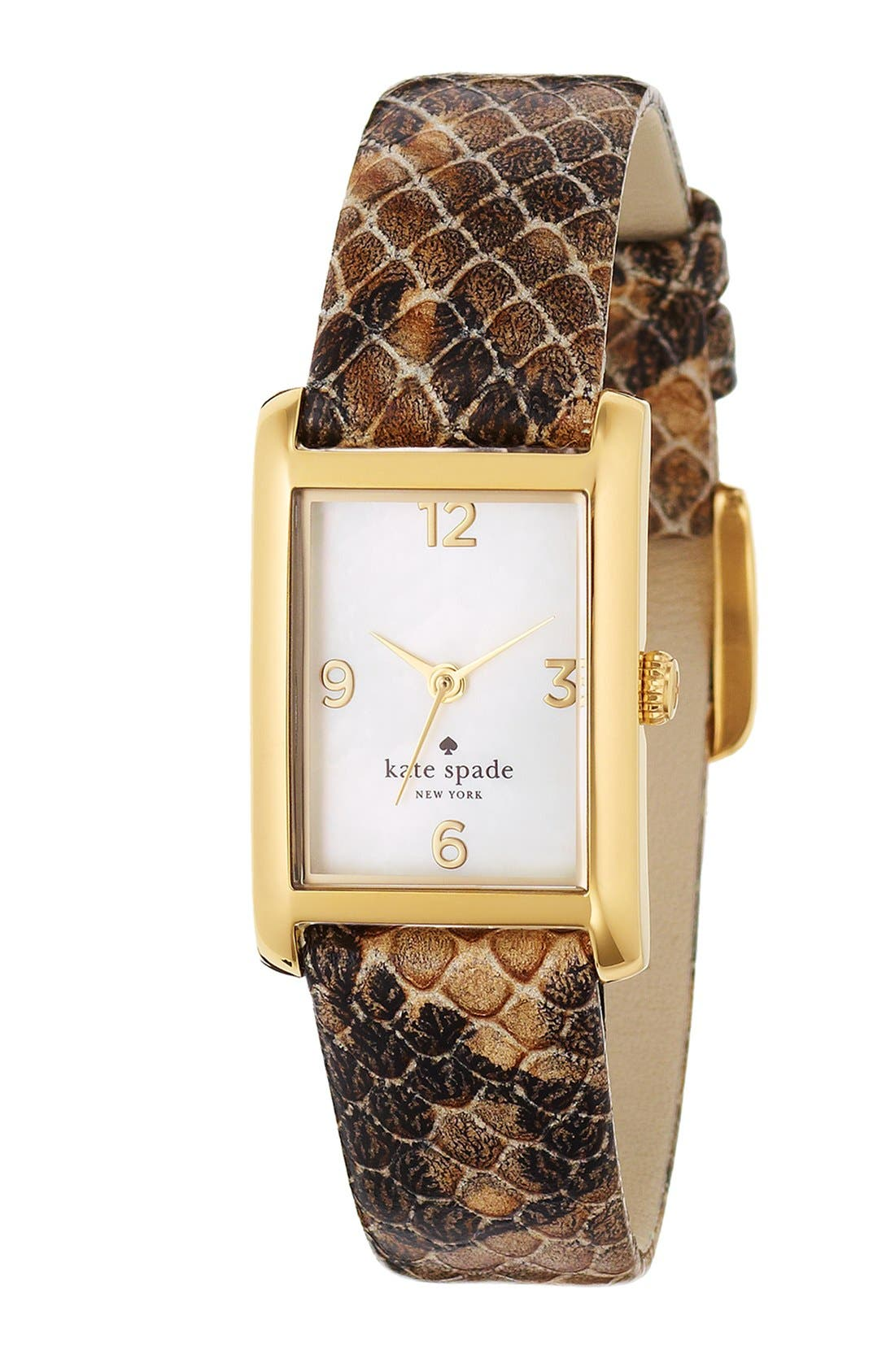 Alternate Image 2  - kate spade new york 'cooper' embossed leather strap watch, 21mm x 32mm