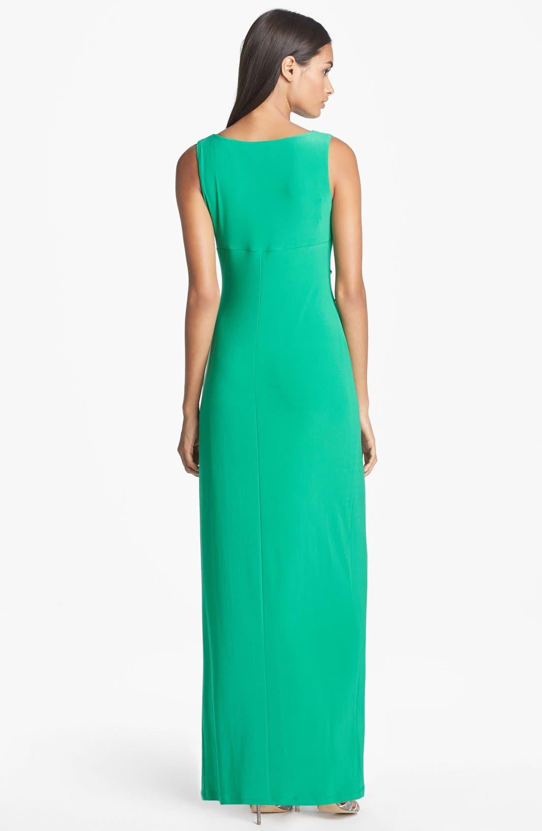 Alternate Image 2  - Lauren Ralph Lauren Embellished Matte Jersey Column Gown (Regular & Petite)