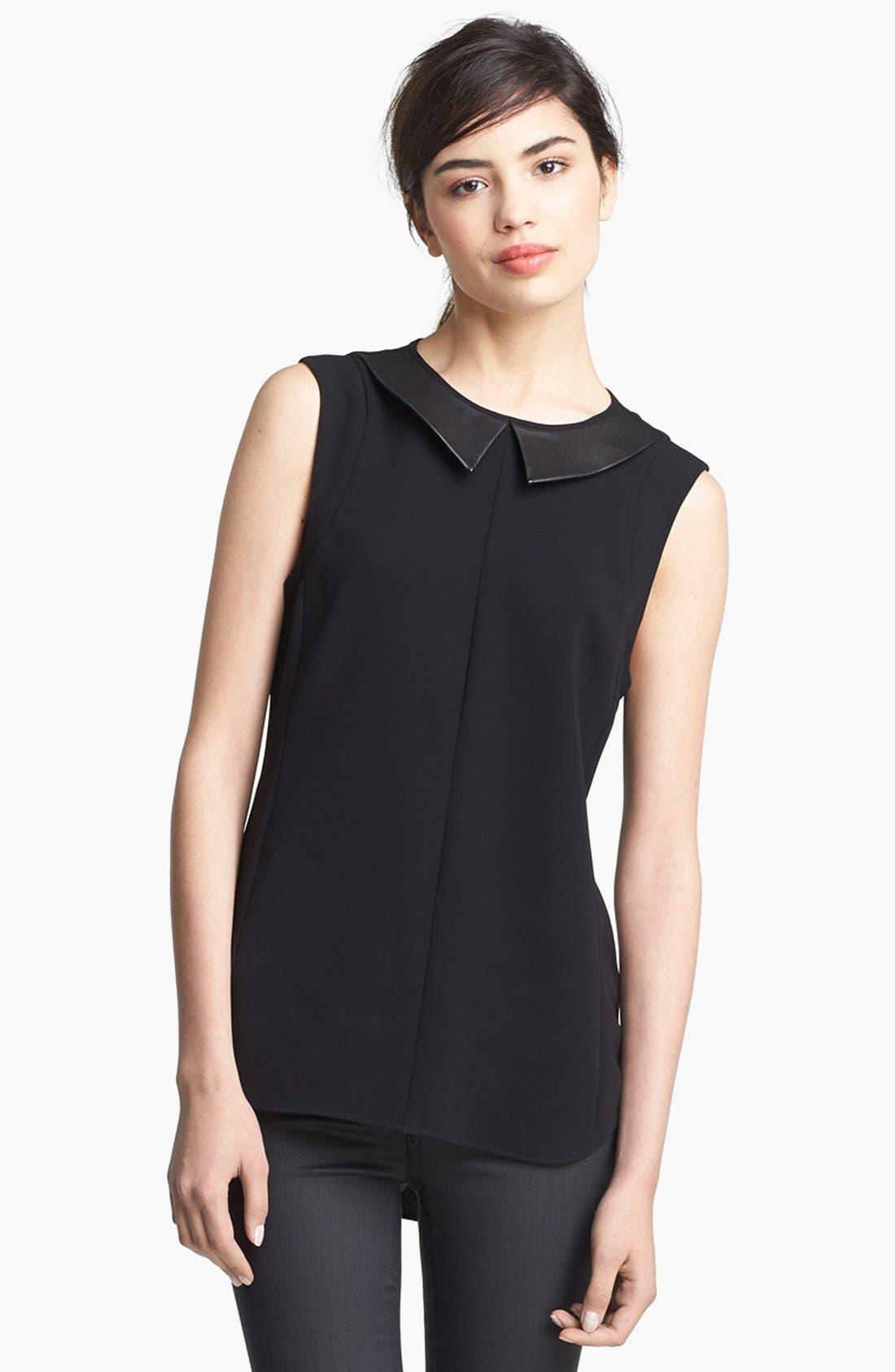 Main Image - rag & bone 'Astrid' Leather Collar Top