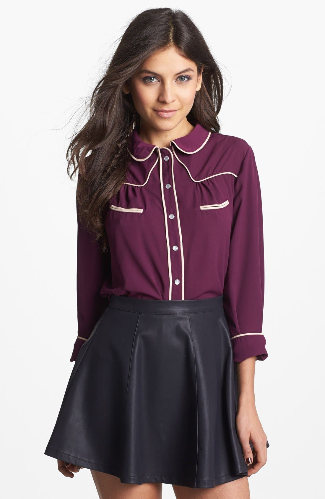 Alternate Image 1 Selected - Mimi Chica Western Shirt (Juniors)