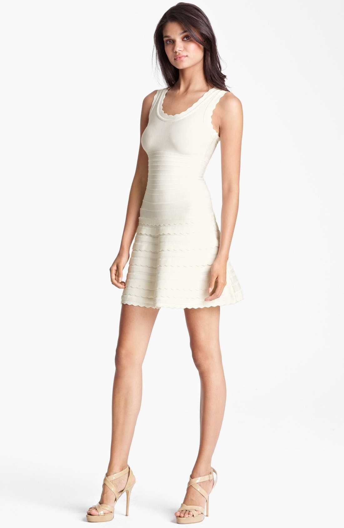 Main Image - Herve Leger Scalloped A-Line Dress