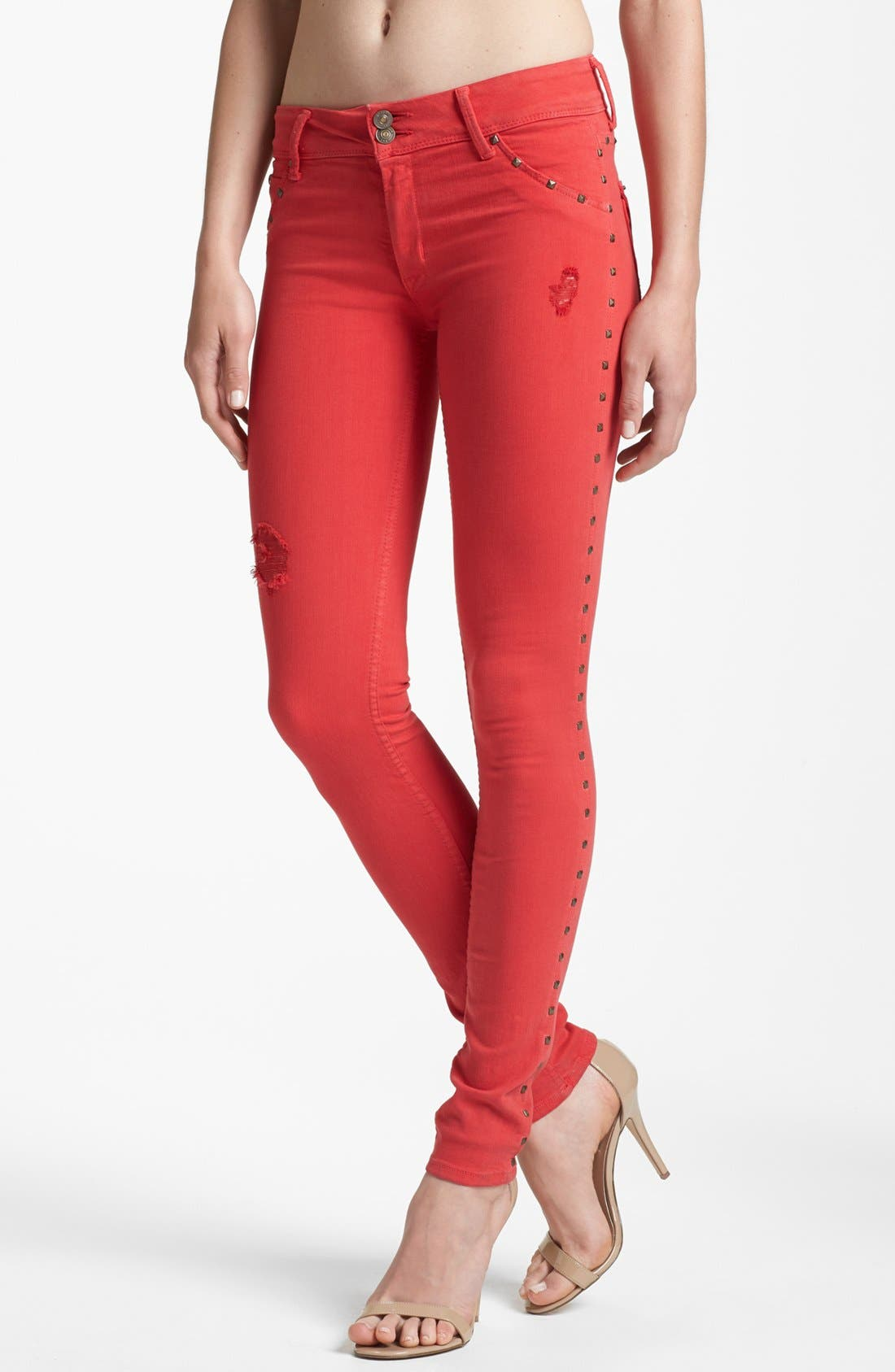 Main Image - Hudson Jeans 'Collin' Skinny Stretch Jeans (Red Dahlia)