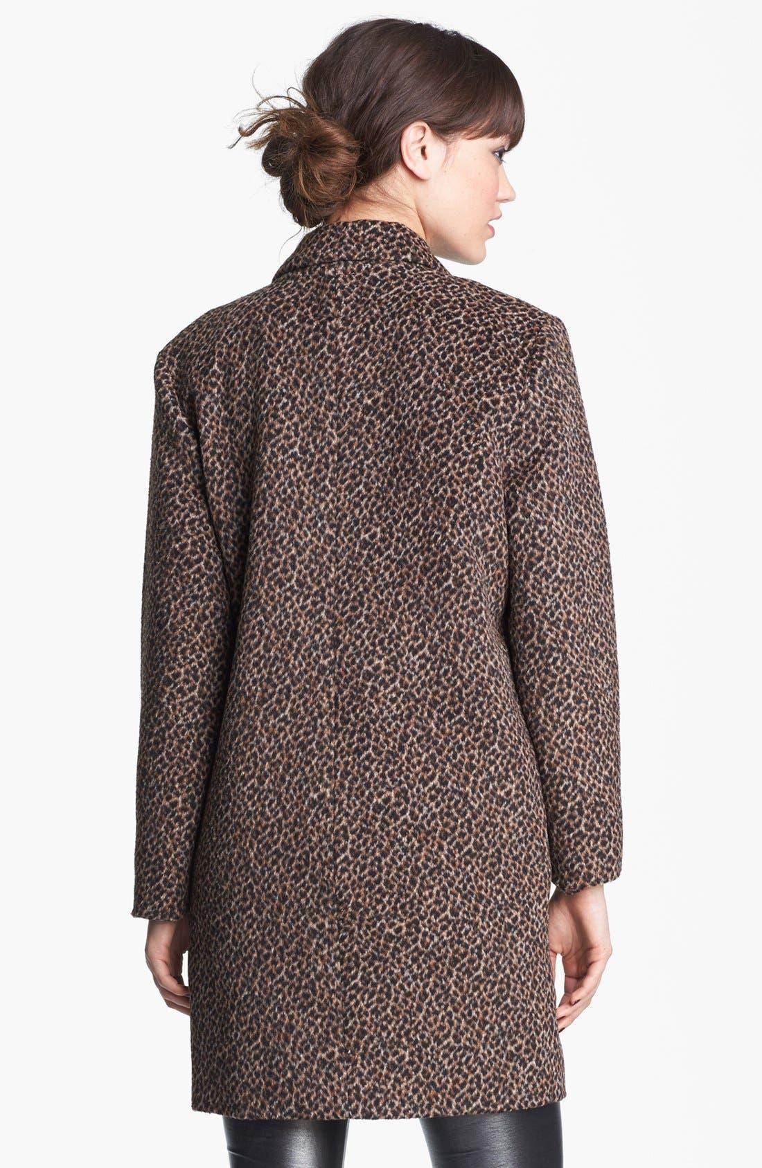 Alternate Image 2  - Tulle Animal Print Oversized Collar Coat (Juniors) (Online Only)