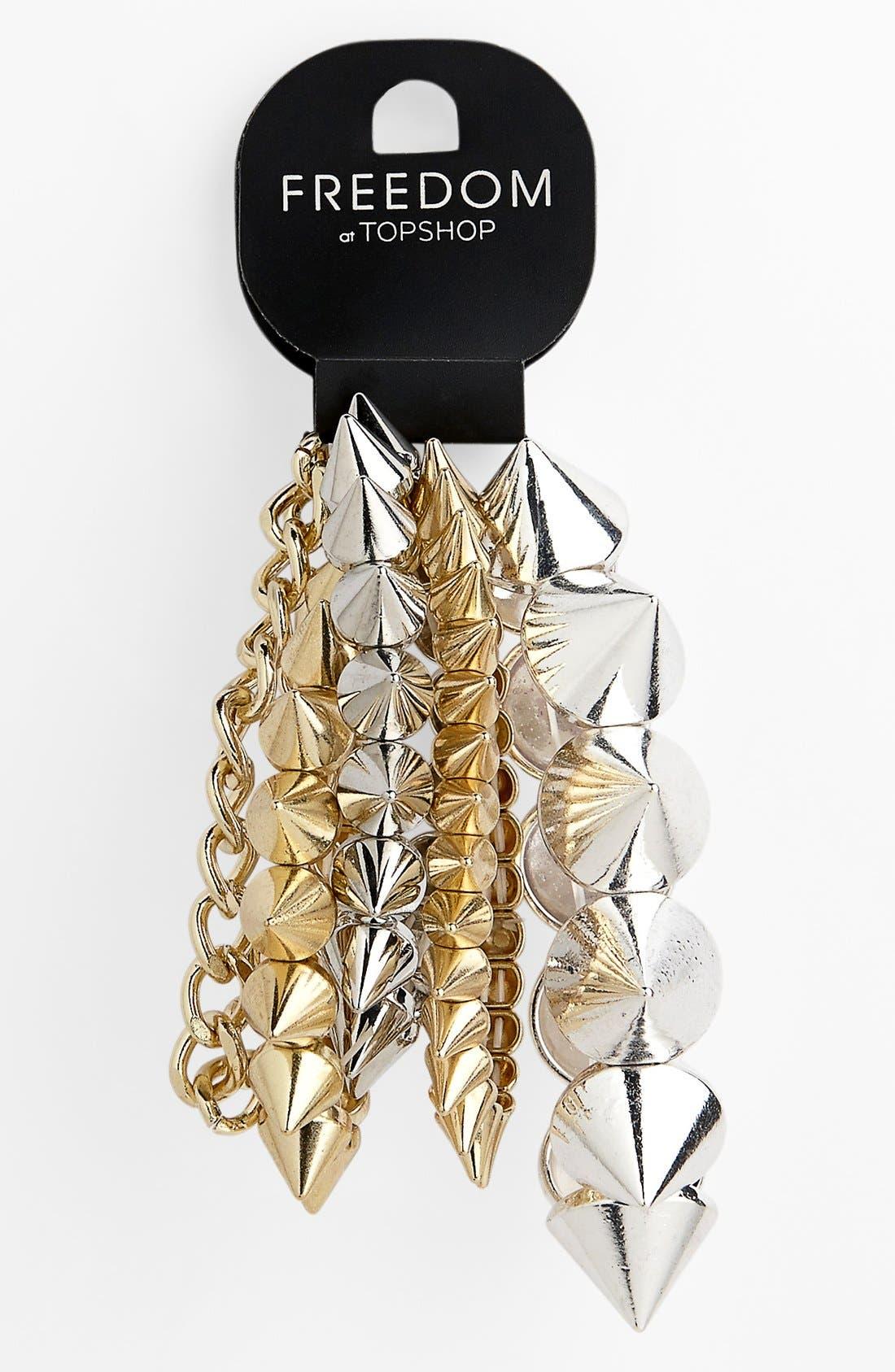 Main Image - Topshop Spike Bracelets (Set of 5)
