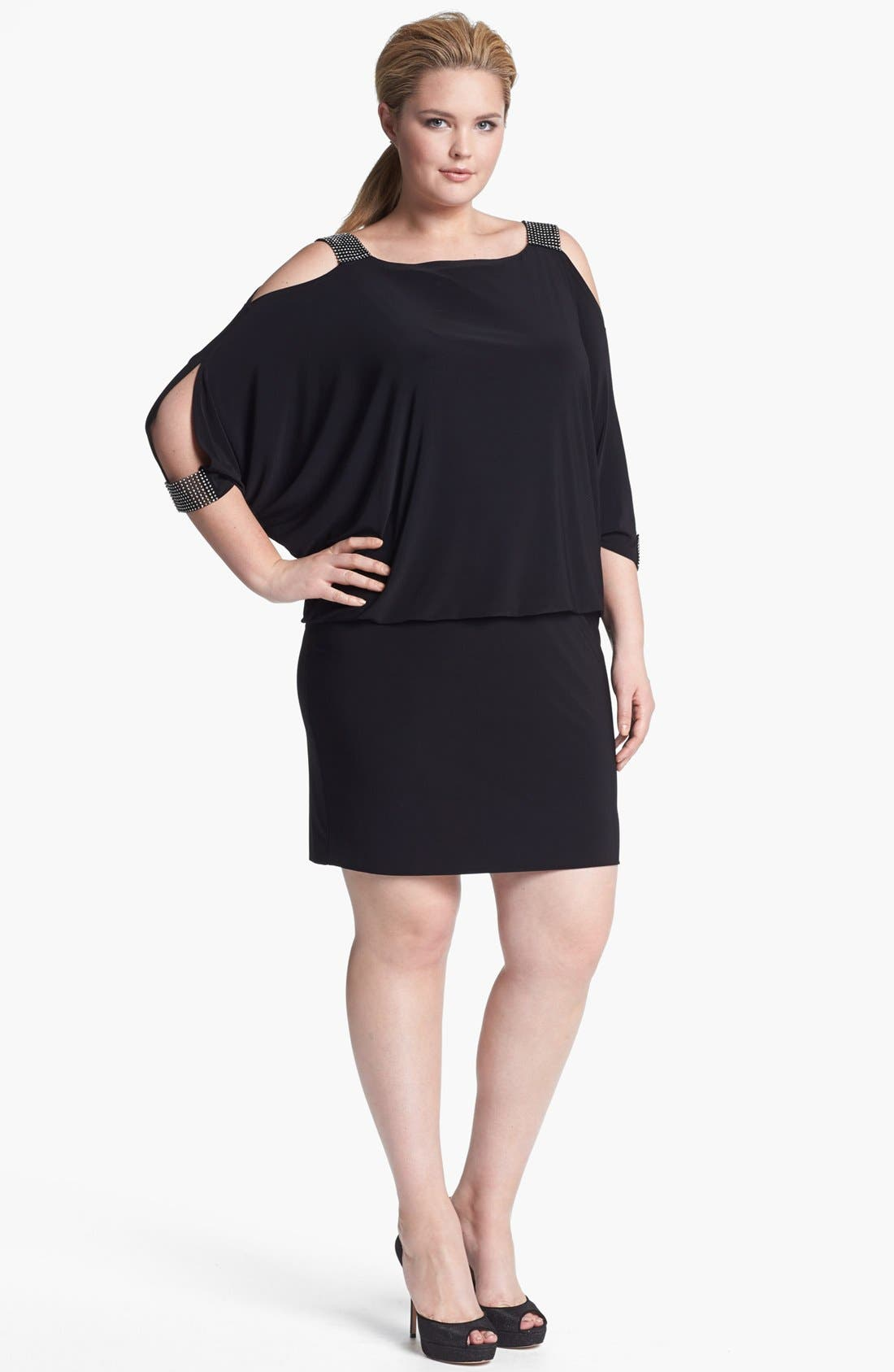 Alternate Image 1 Selected - Betsy & Adam Embellished Jersey Blouson Dress (Plus Size)