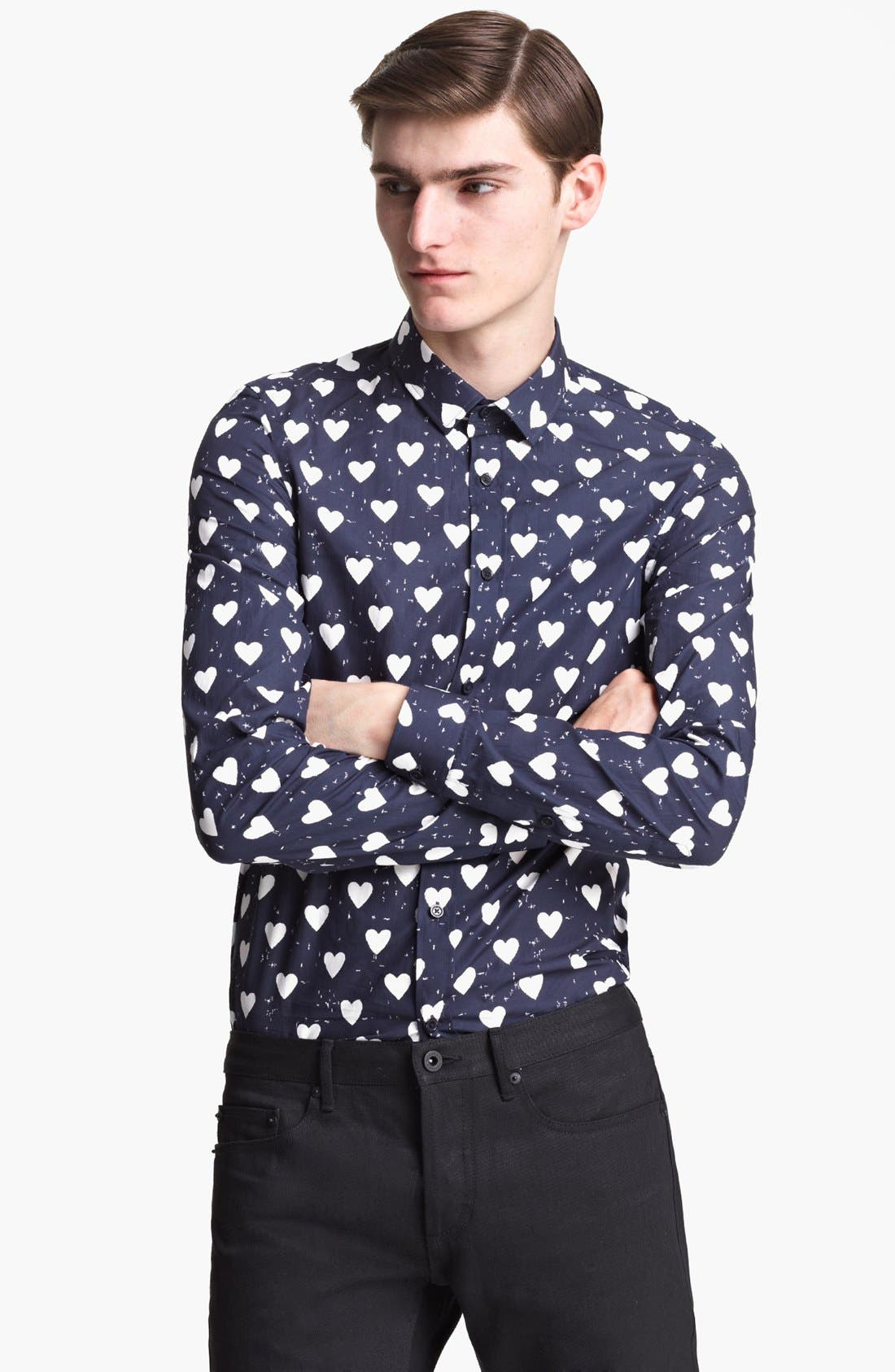 Alternate Image 1 Selected - Burberry Prorsum Heart Print Poplin Sport Shirt