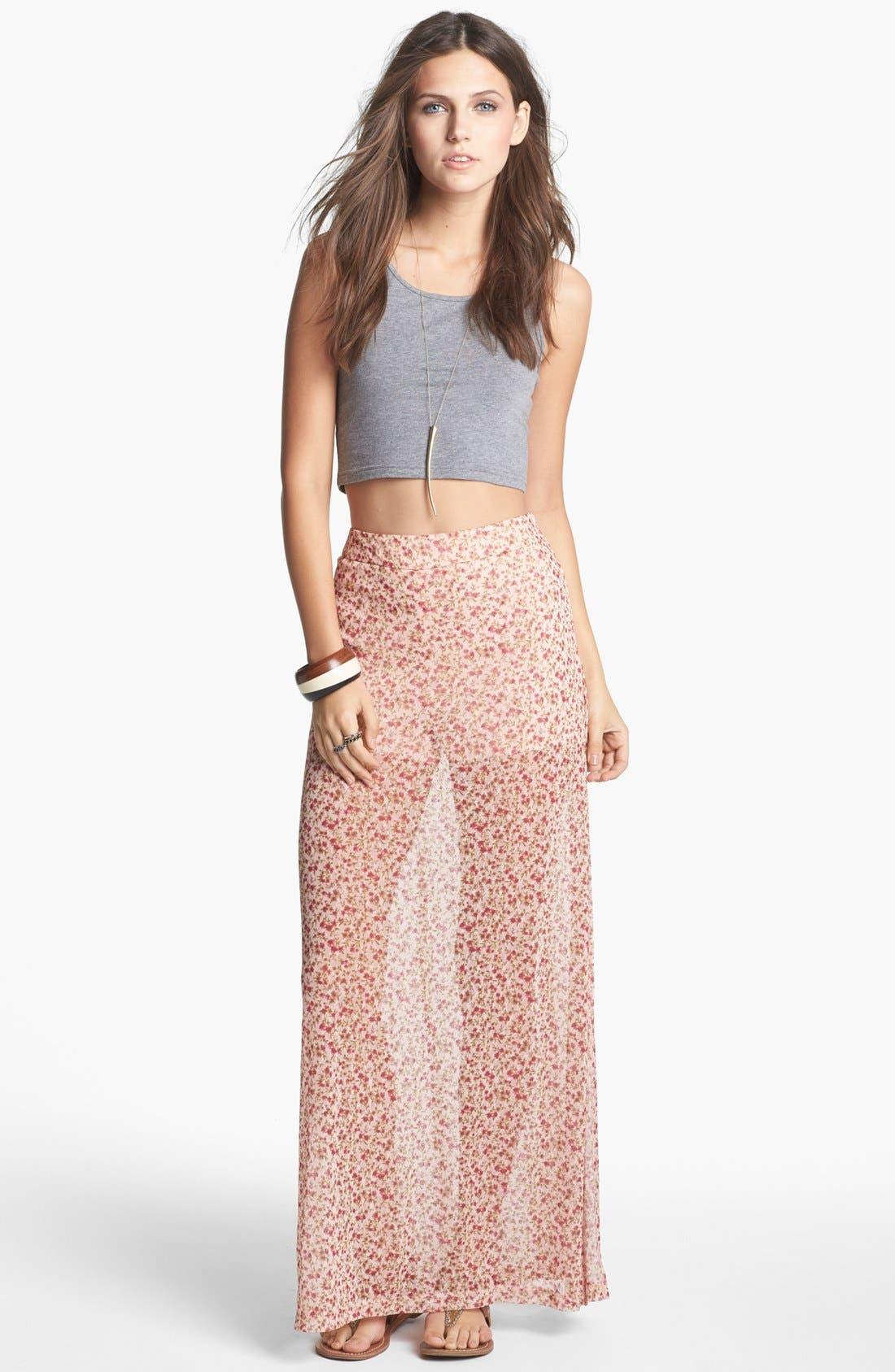 Alternate Image 1 Selected - Mimi Chica Print Sheer Maxi Skirt (Juniors)