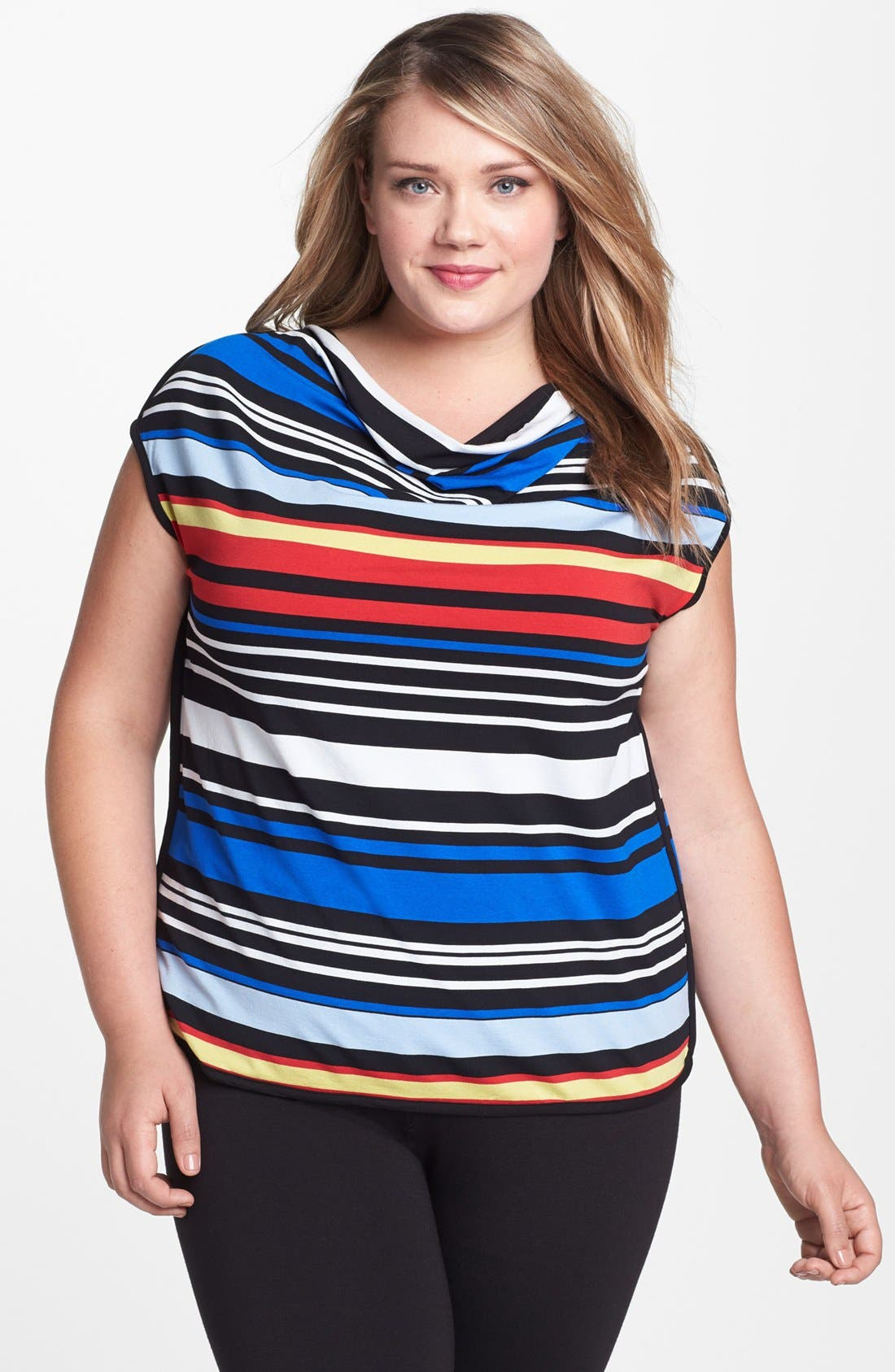 Alternate Image 1 Selected - Vince Camuto Stripe Cowl Neck Tee (Plus Size)