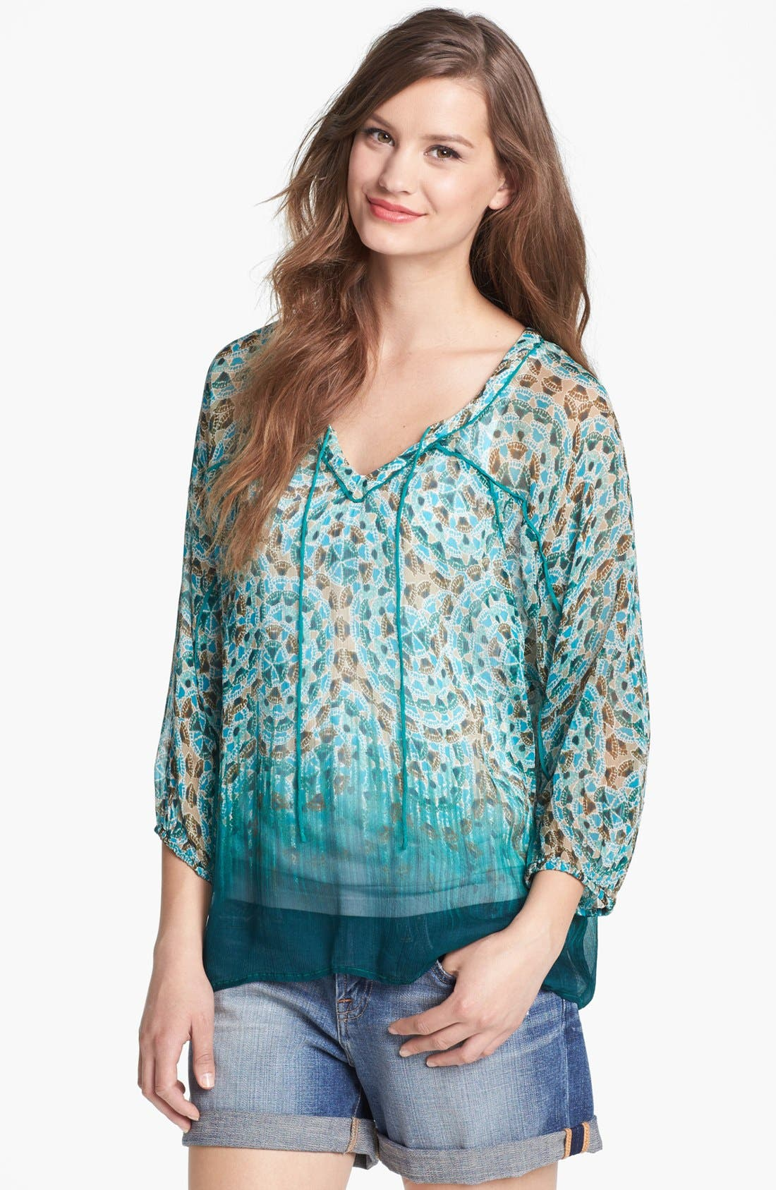 Main Image - Lucky Brand 'Spiral Jetty - Joplin' Peasant Top