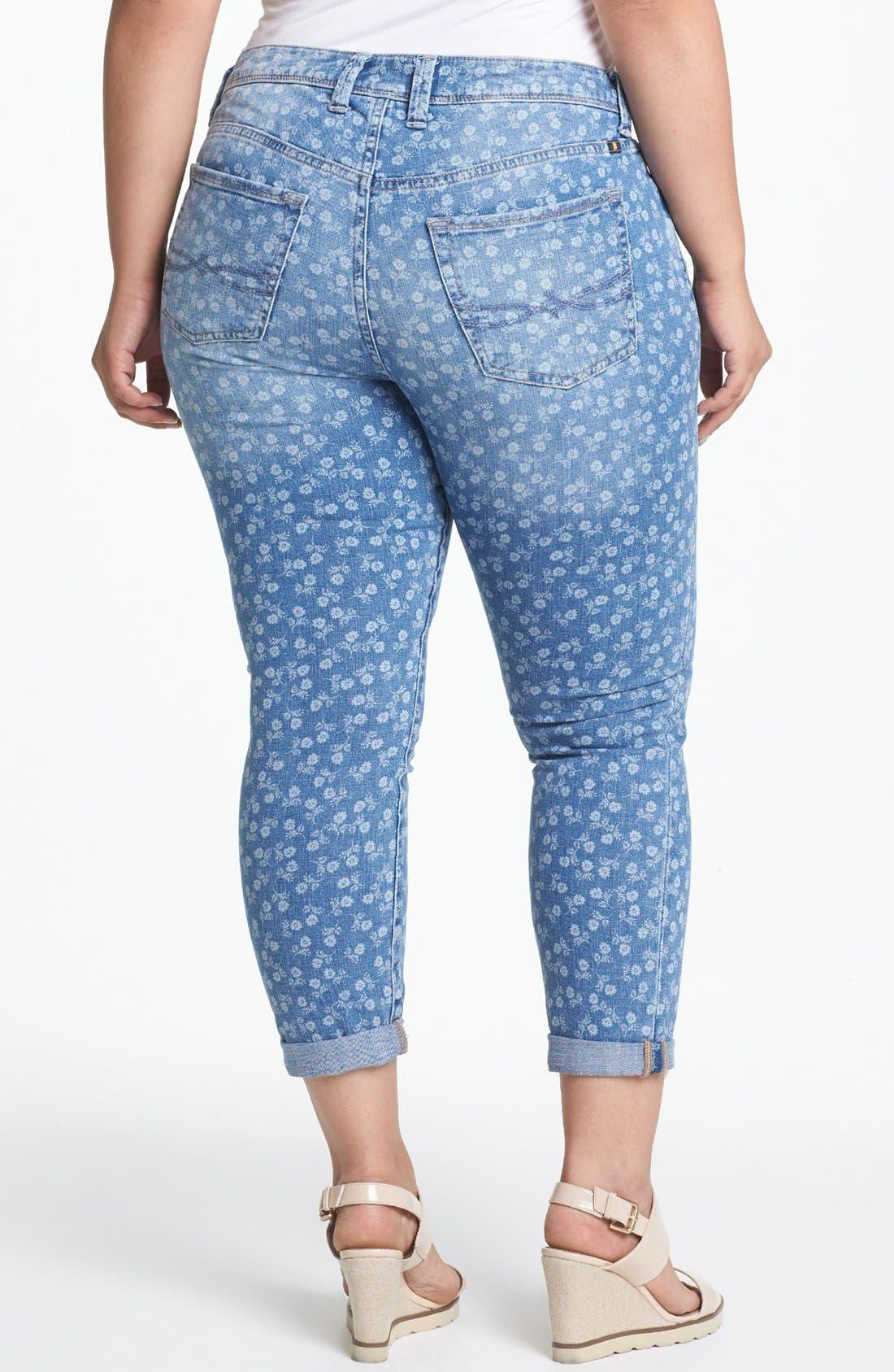 Alternate Image 2  - Lucky Brand 'Ginger' Print Boyfriend Jeans (Plus Size)